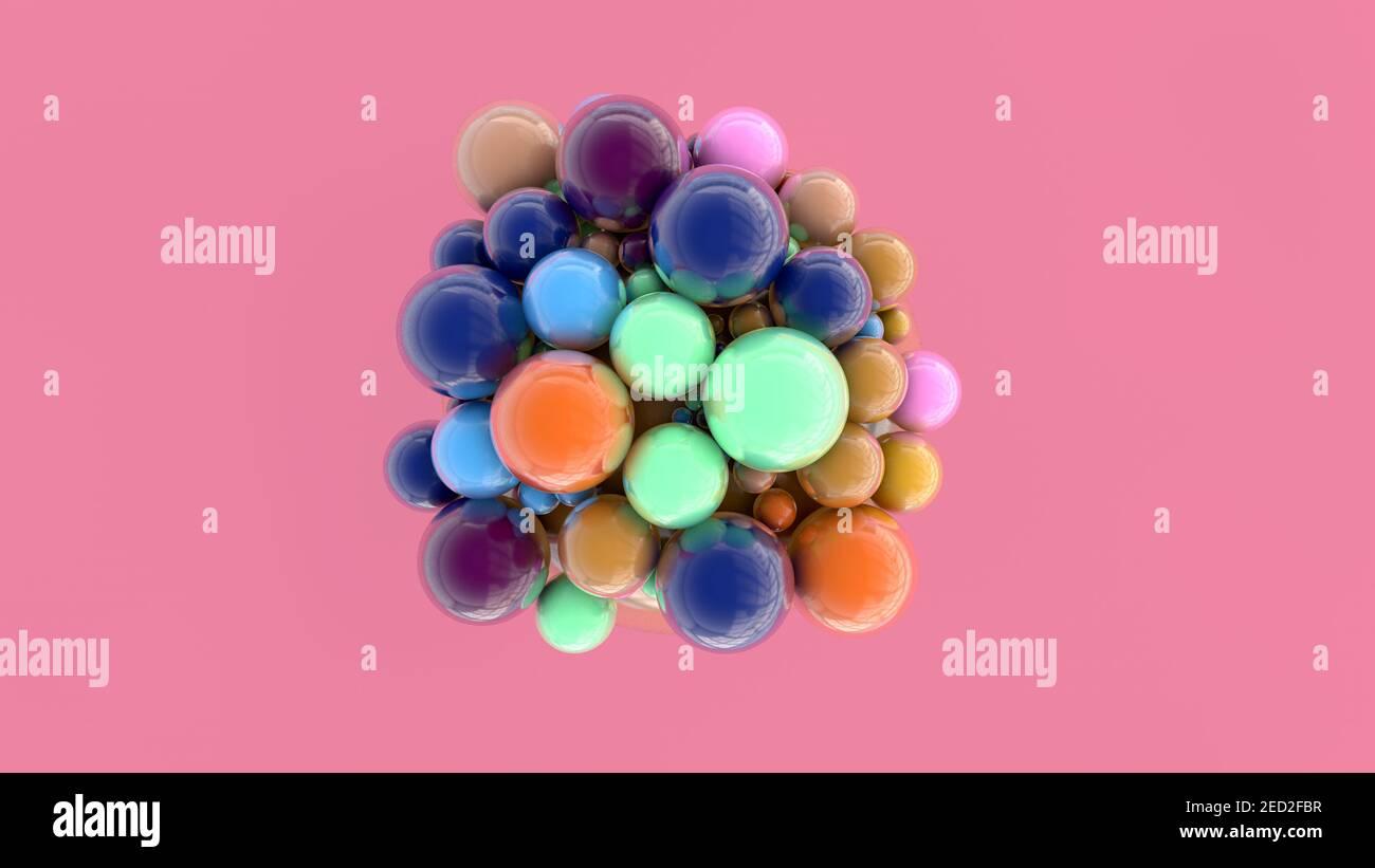 renderizar en 3d. Resumen de esferas de diferentes colores y tamaños Foto de stock