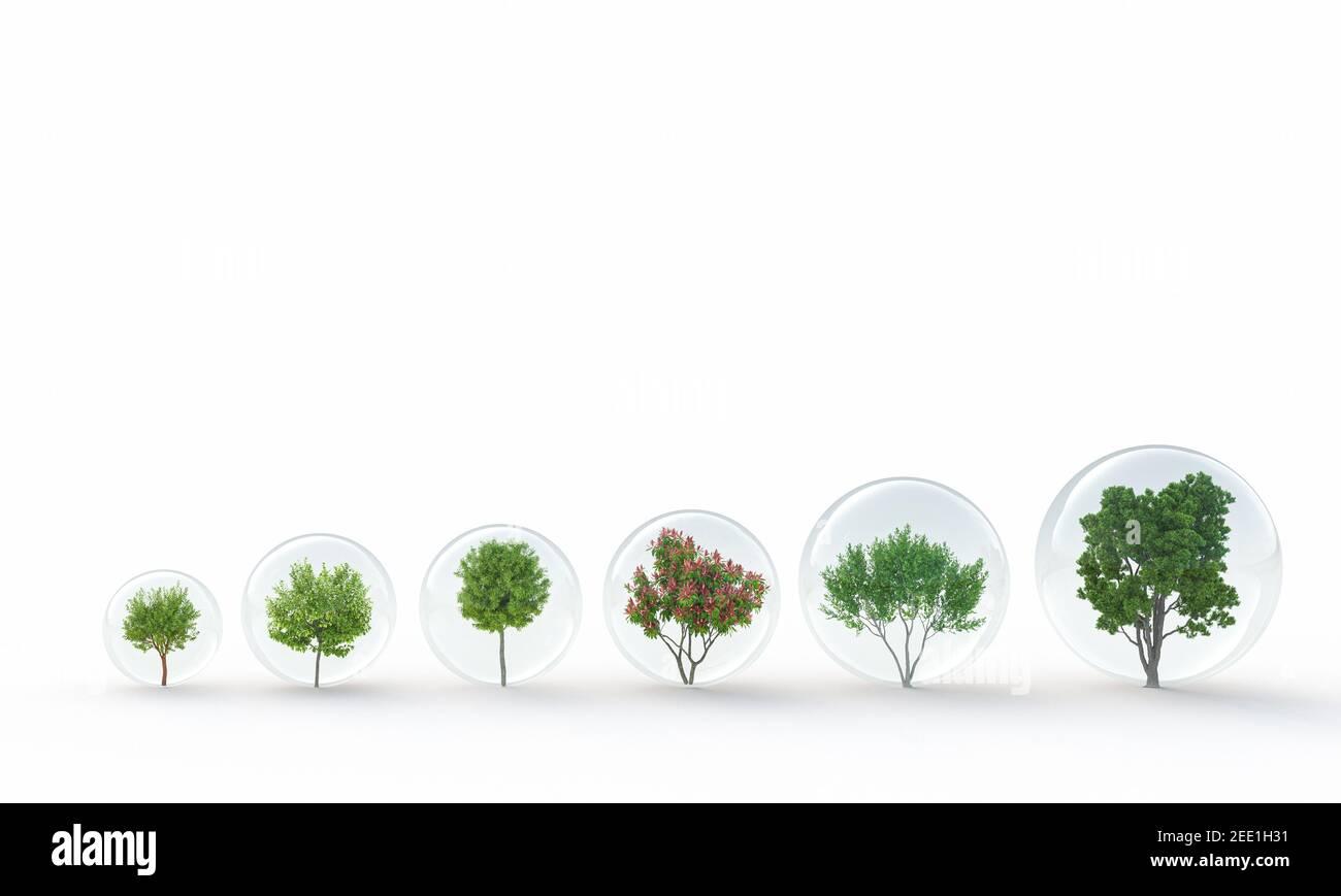 diferentes tipos de ejes protegidos en bolas de vidrio. presentación en 3d. concepto de preservación del medio ambiente. Foto de stock