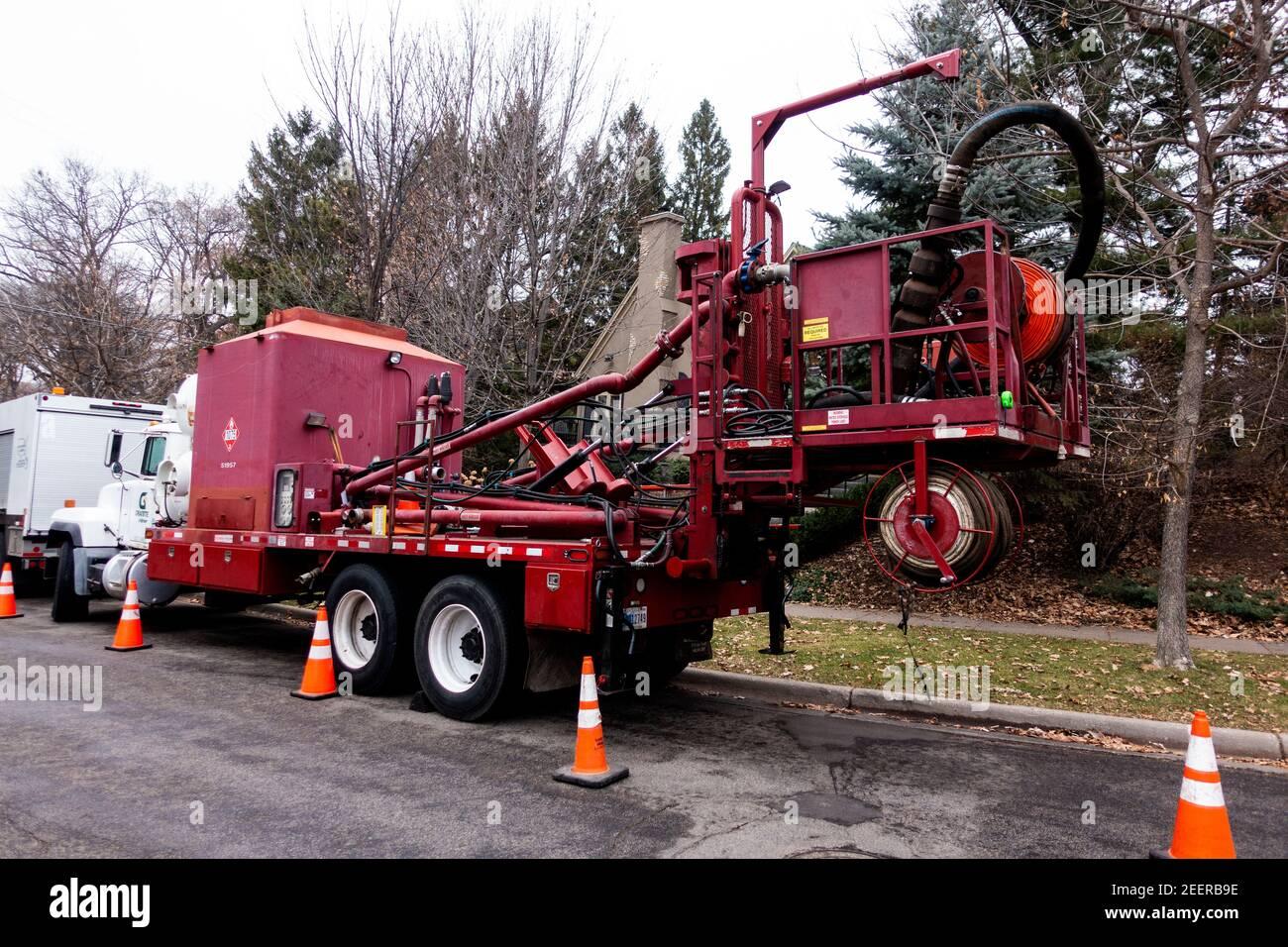 Camión de alcantarillado y mantenimiento de calles. St Paul Minnesota MN EE.UU Foto de stock