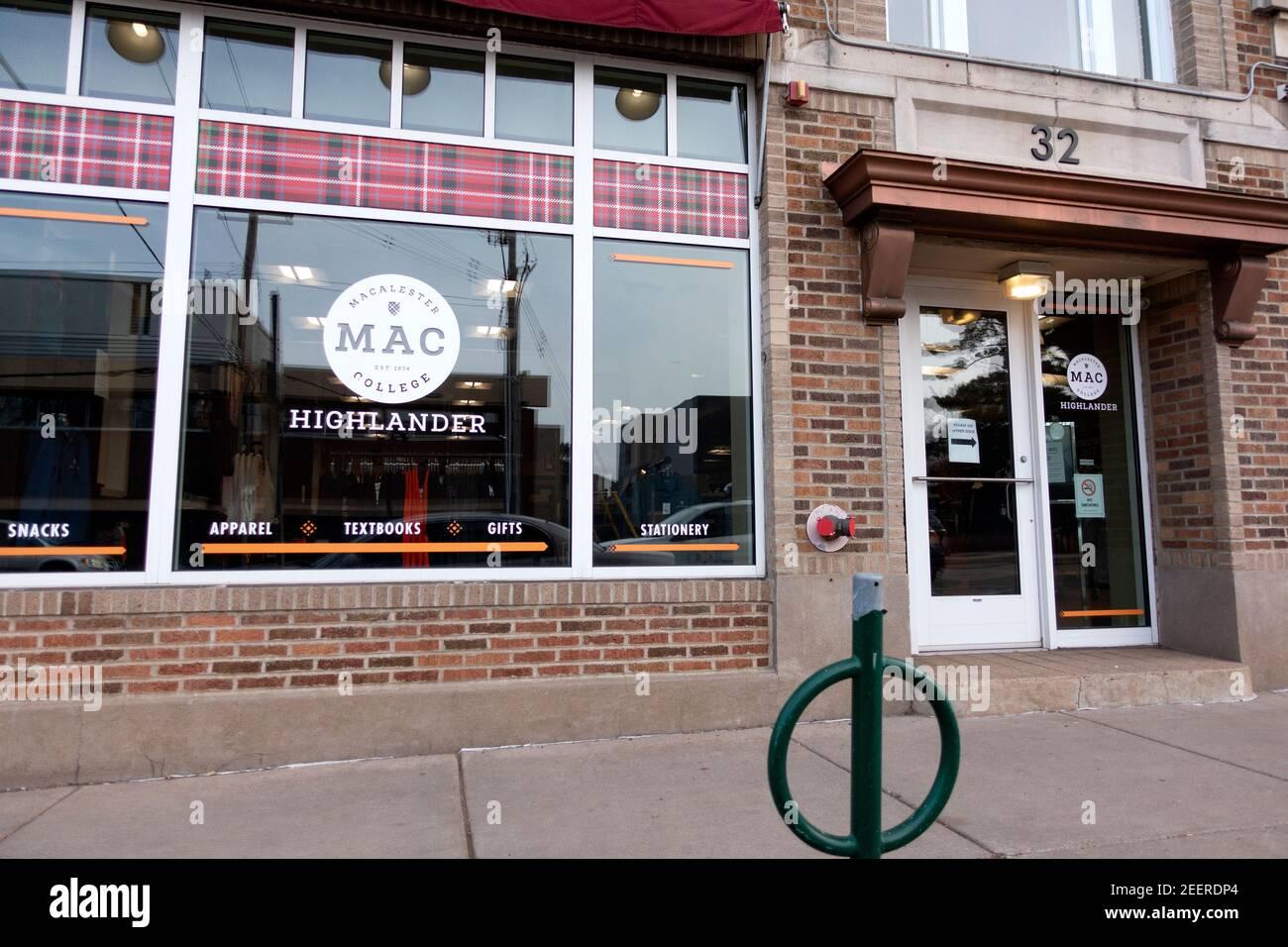 Macalester College Bookstore que también vende accesorios como camisas y sombreros. St Paul Minnesota MN EE.UU Foto de stock