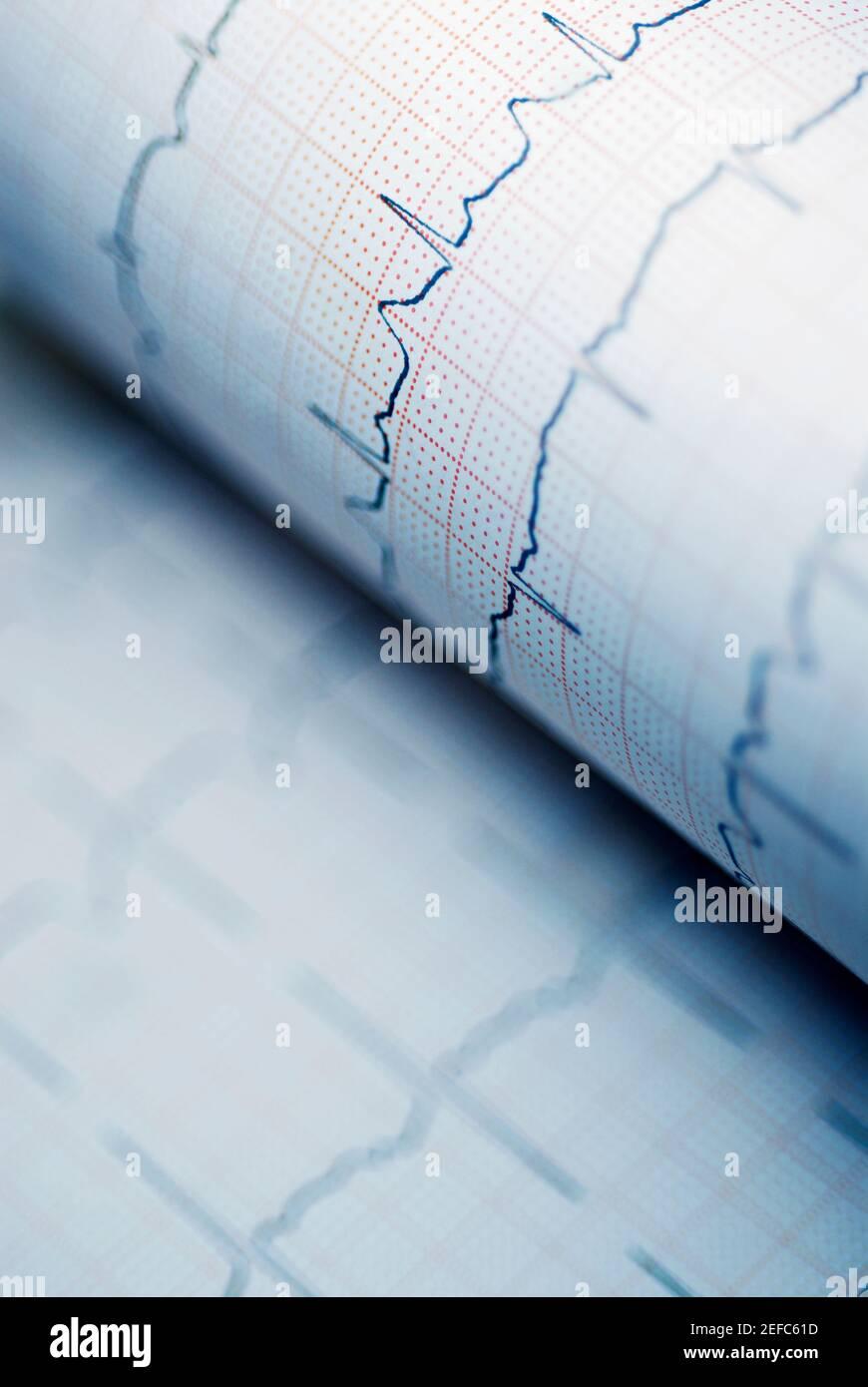 Primer plano de un gráfico de líneas en un gráfico Foto de stock