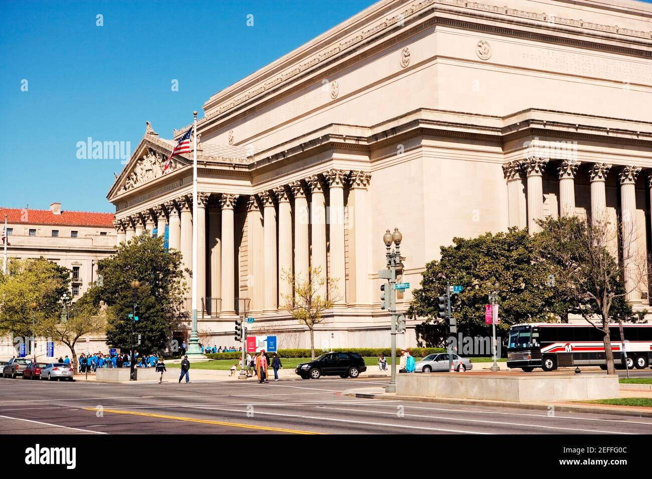 Fachada del edificio de Archivos nacionales, Washington DC, EE.UU., Washington DC, EE.UU Foto de stock