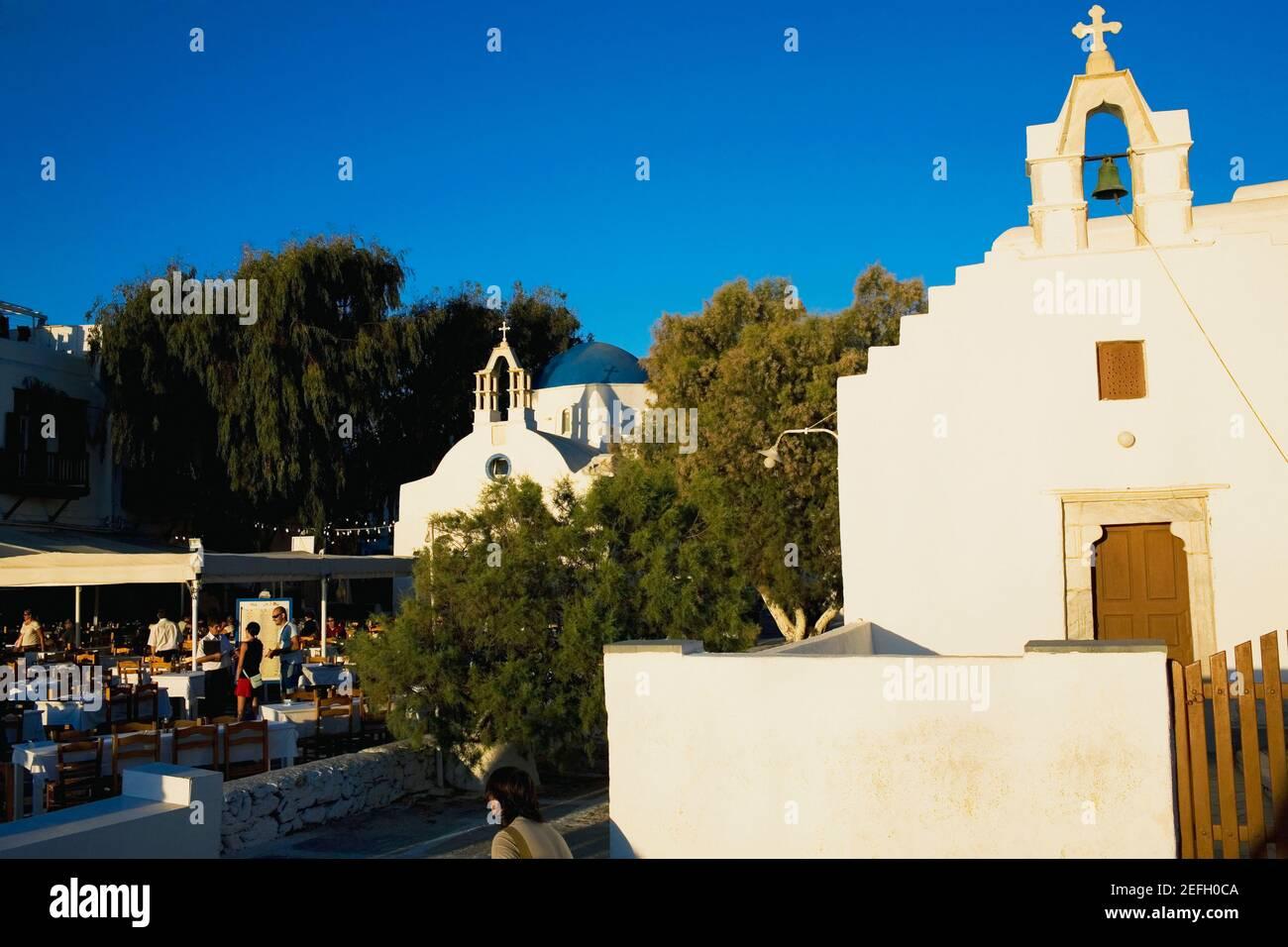 Fachada de una iglesia, Mykonos, Islas Cícladas, Grecia Foto de stock
