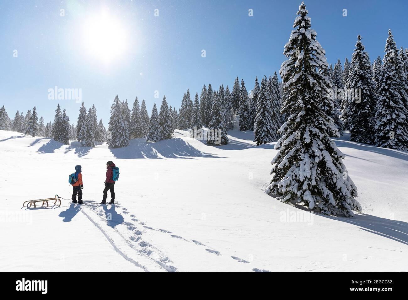 Madre e hijo remolcando un trineo en la nieve, paisaje de cuento de hadas de invierno en Velika planina, Eslovenia Foto de stock