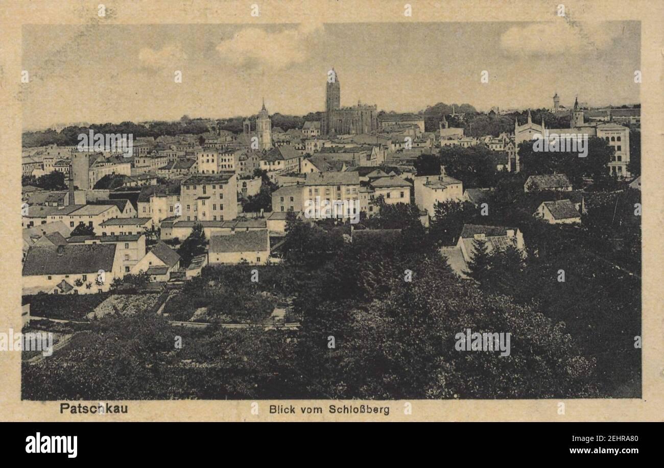 Patschkau, Schlesien - Stadtansicht vom Schlossberg Foto de stock