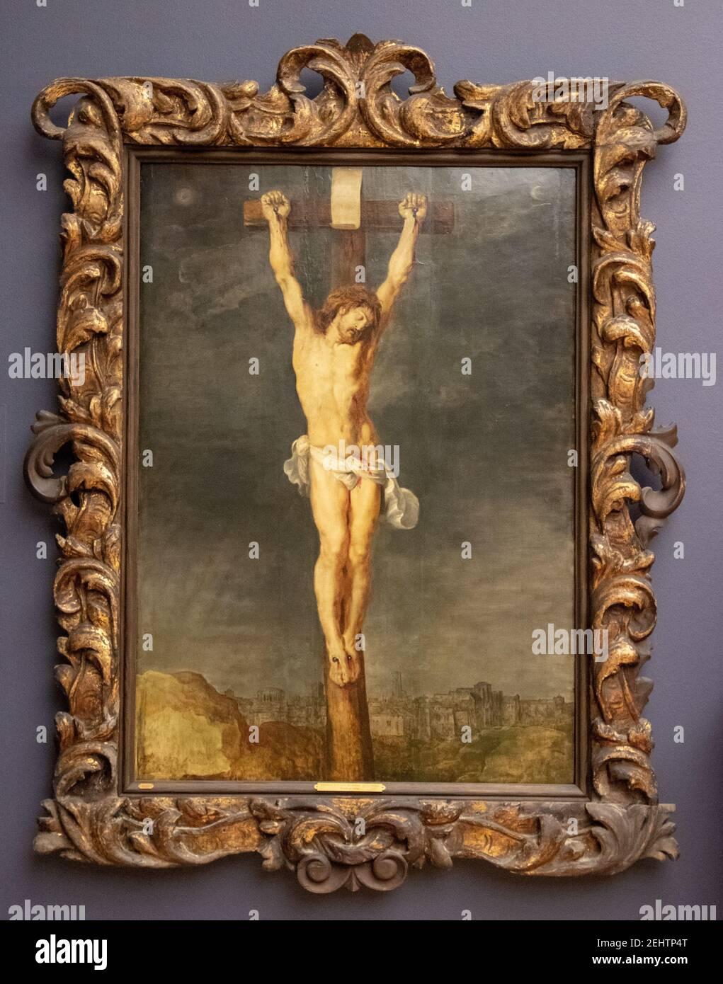 Cristo en la Cruz, Peter Paul Rubens, SMK, Statens Museun for Kunst, Galería Nacional de Dinamarca, Copenhague, Dinamarca. Foto de stock