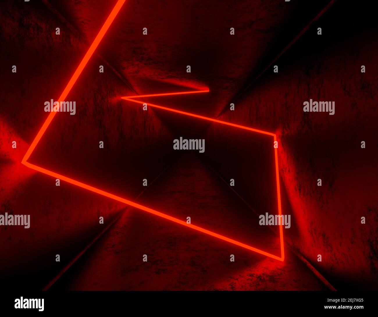 presentación en 3d, fondo de túnel abstracto con luces de neón rojas Foto de stock
