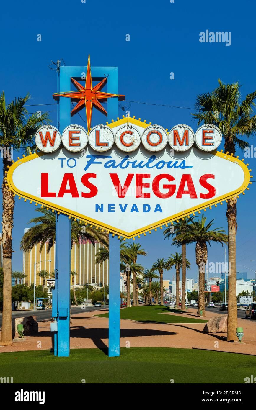 Bienvenido a la fabulosa Las Vegas sign, Las Vegas, Nevada, EE.UU. Foto de stock