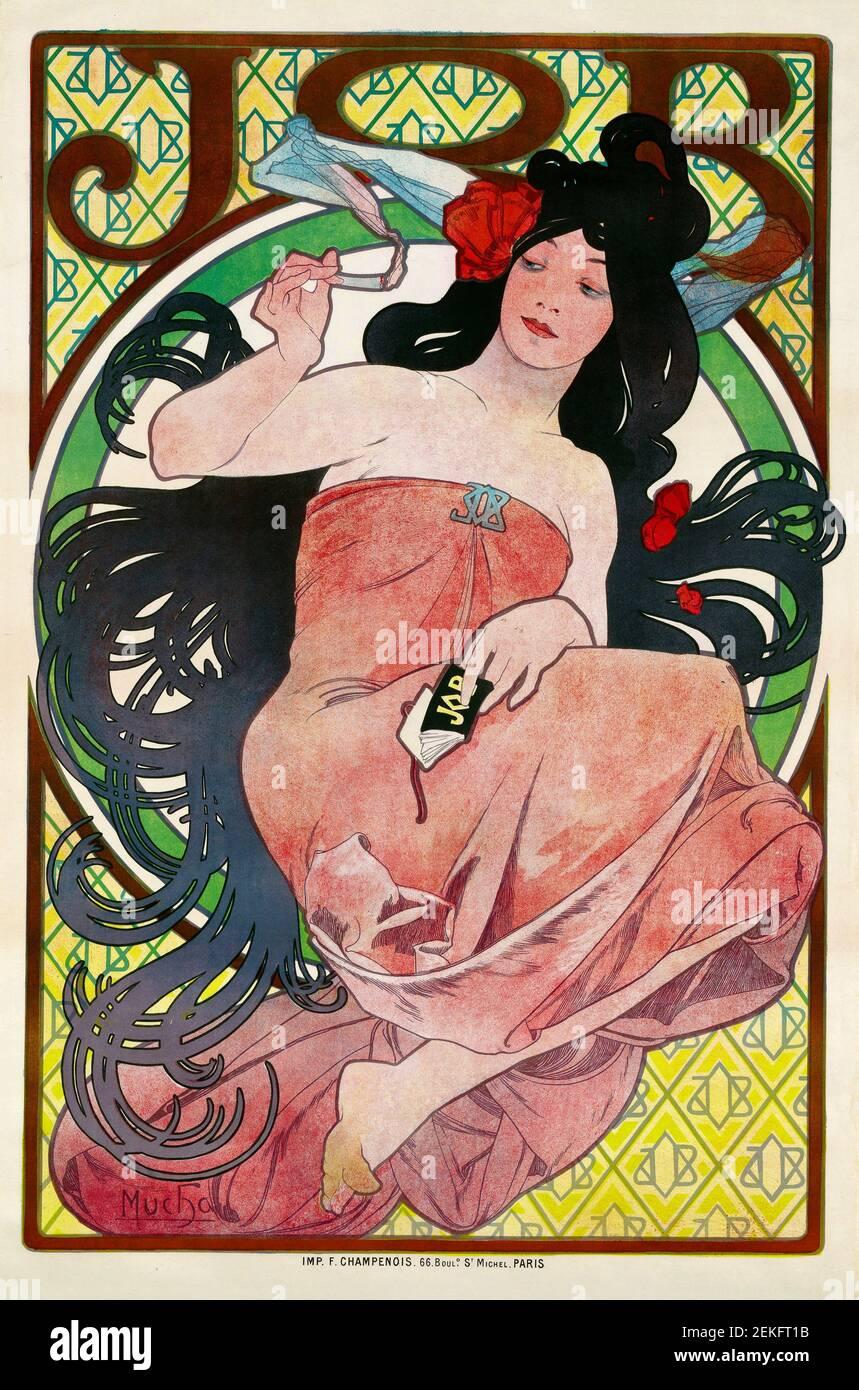 Alphonse Mucha, 'Job', cartel litográfico en color, 1894. Alfons Maria Mucha (1860 -1939) fue una pintora, ilustradora y artista gráfico de estilo Art Nouveau checo, Foto de stock
