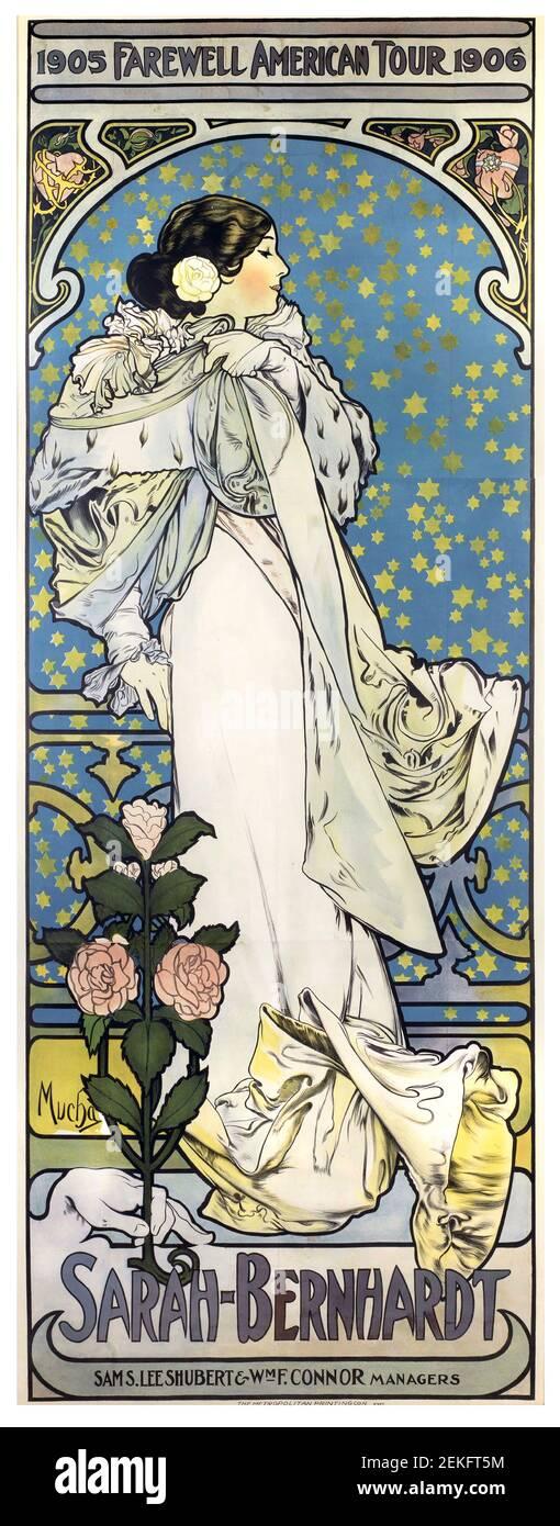 Alphonse Mucha, cartel publicitario de Sarah Bernhardt, Despedida American Tour, 1905. Alfons Maria Mucha (1860 -1939) fue una pintora, ilustradora y artista gráfico de estilo Art Nouveau checo, Foto de stock