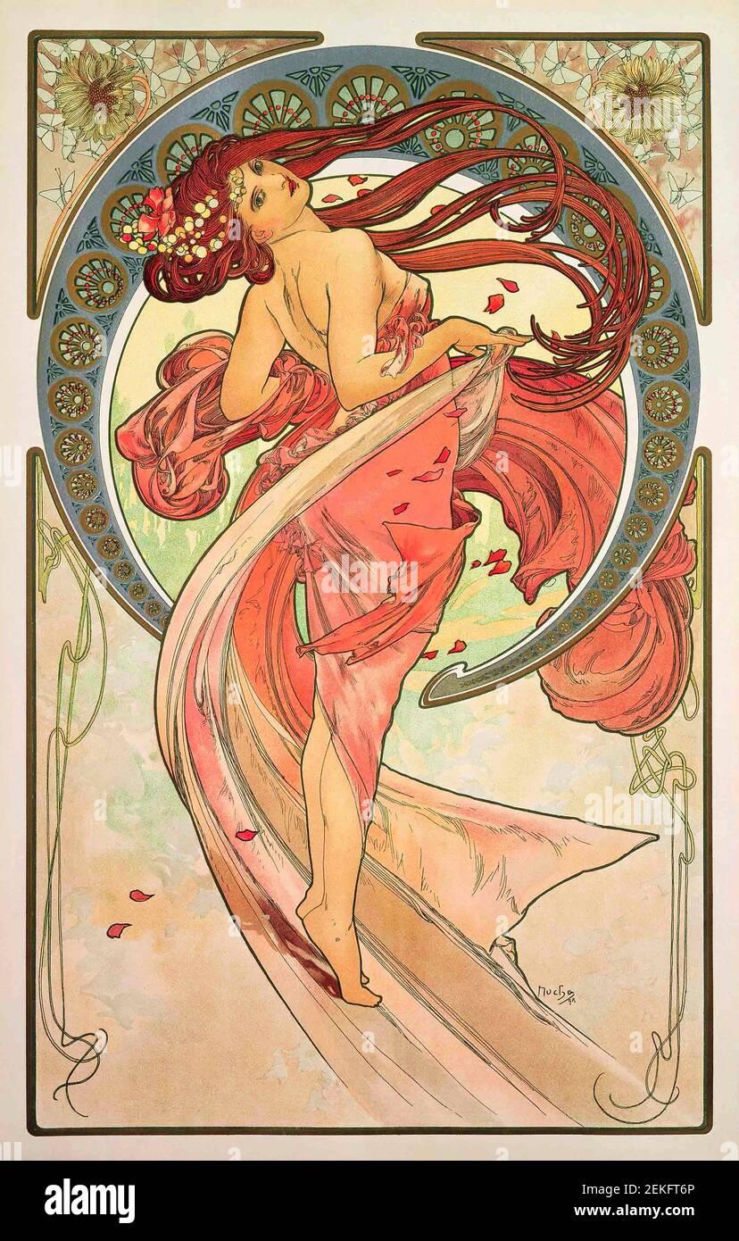 Alphonse Mucha, 'The Arts - Dance', litografía a color impresa en satén, 1899. Alfons Maria Mucha (1860 -1939) fue una pintora, ilustradora y artista gráfico de estilo Art Nouveau checo, Foto de stock