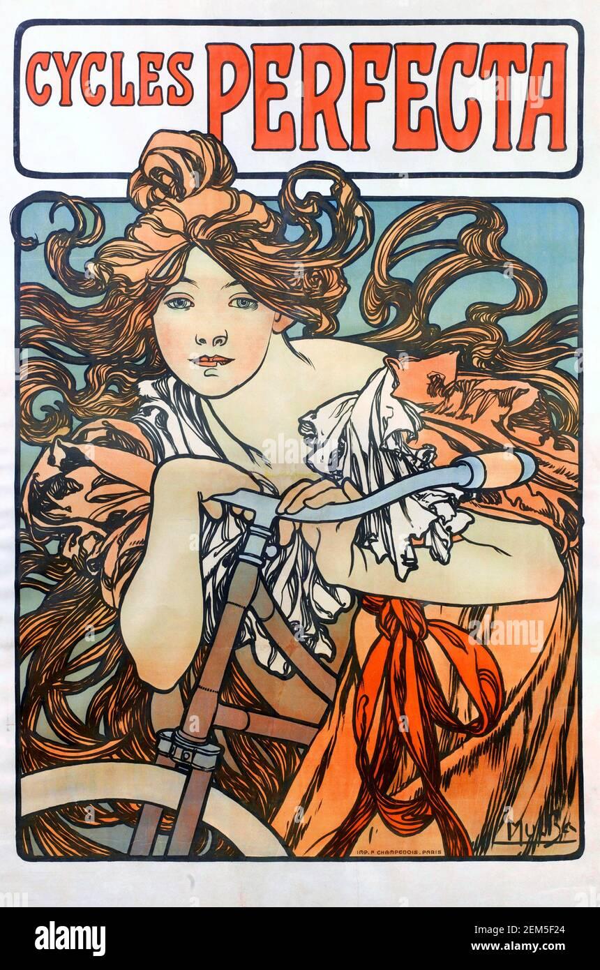 Alphonse Mucha, cartel publicitario de 'Perfecta Cycles', 1902. Alfons Maria Mucha (1860 -1939) fue una pintora, ilustradora y artista gráfico de estilo Art Nouveau checo, Foto de stock