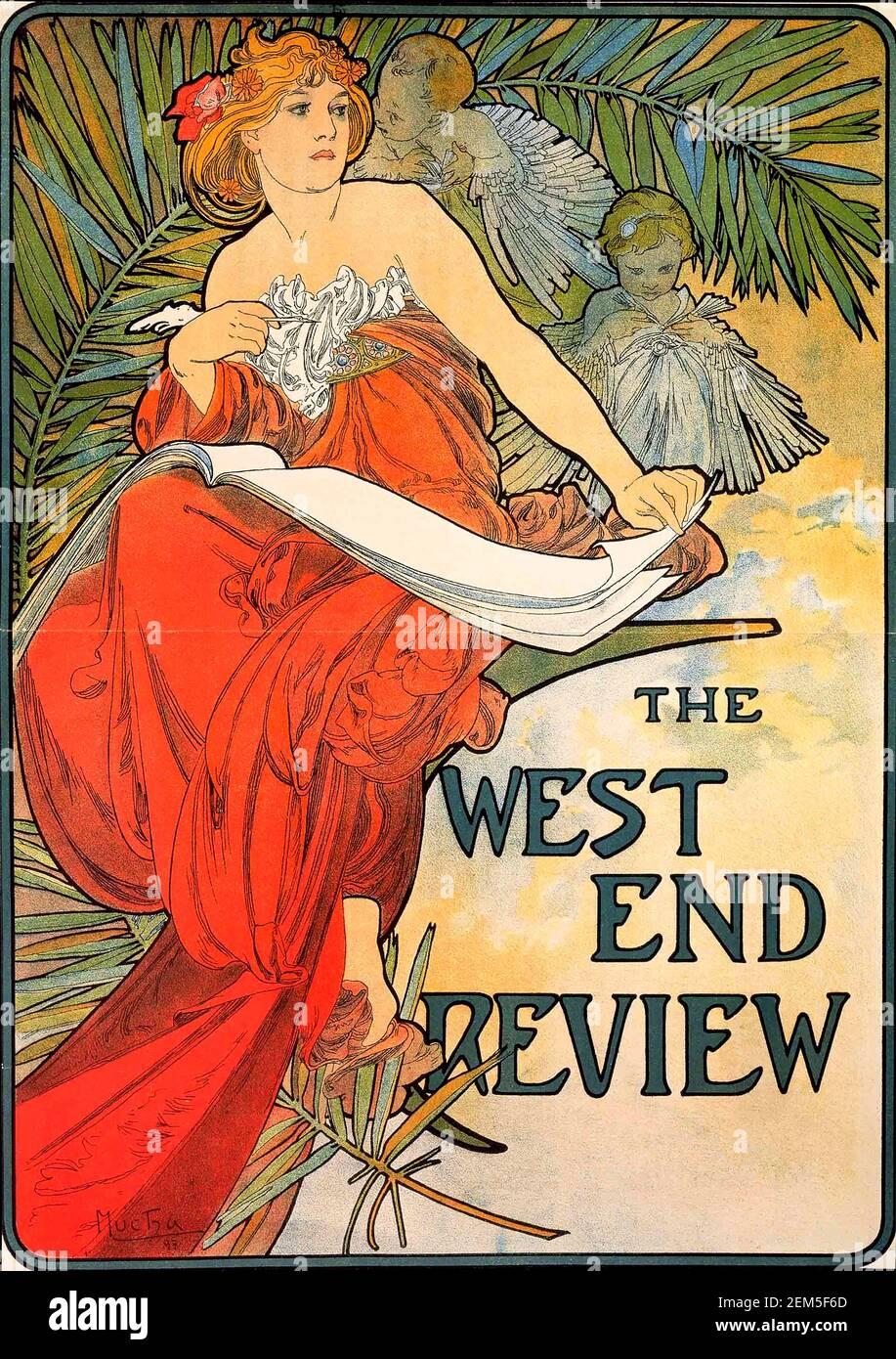 Alphonse Mucha, portada de la revista 'West End Review', 1898. Alfons Maria Mucha (1860 -1939) fue una pintora, ilustradora y artista gráfico de estilo Art Nouveau checo, Foto de stock