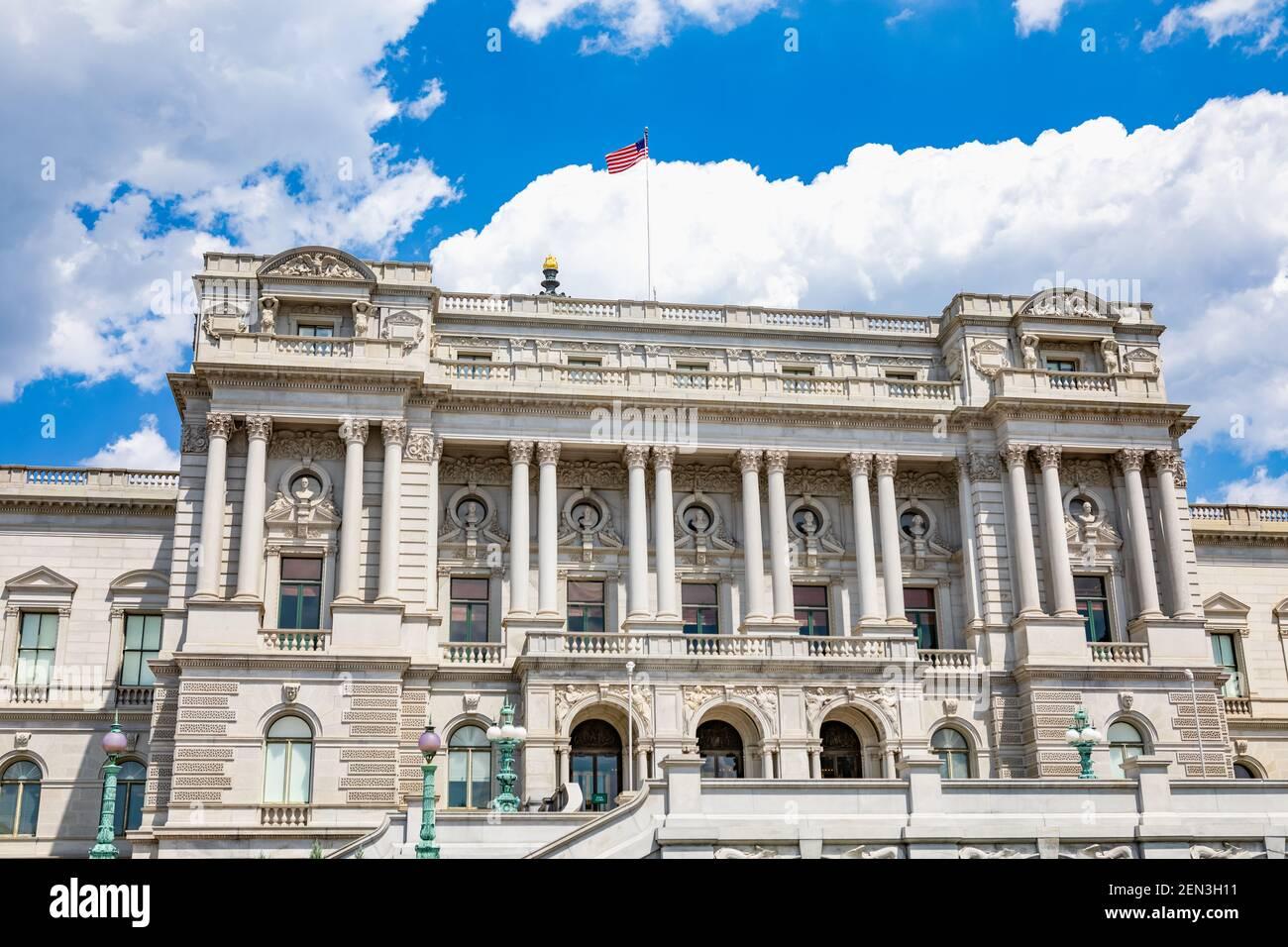 Exterior de la Biblioteca del Congreso edificio Thomas Jefferson en Capitol Hill en Washington, DC Foto de stock