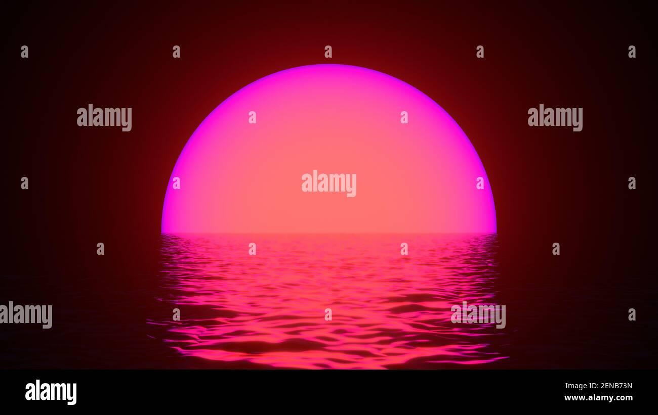 Sol de neón brillante con reflejos en la superficie del agua. Fondo abstracto, ondas, ultravioleta, espectro colores vibrantes, espectáculo láser. 3d renderizar illustrati Foto de stock