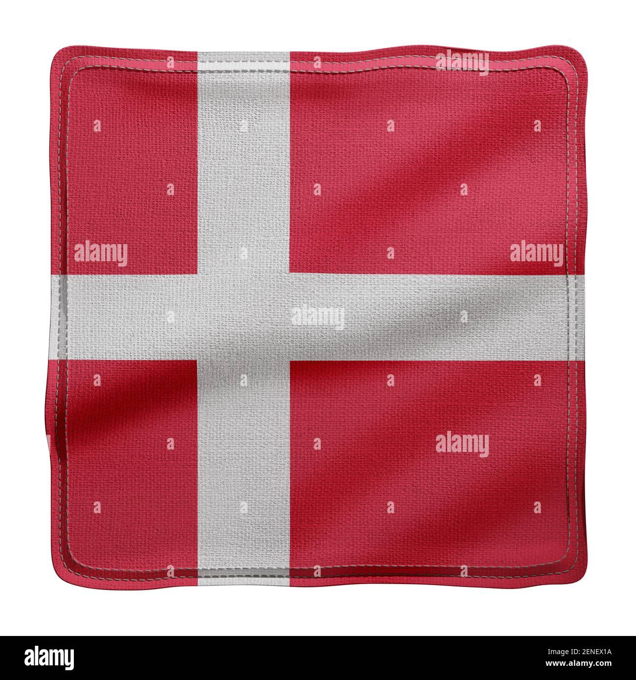 Representación en 3d de una bandera nacional de Dinamarca con tejido texturizado aislada sobre fondo blanco. Foto de stock