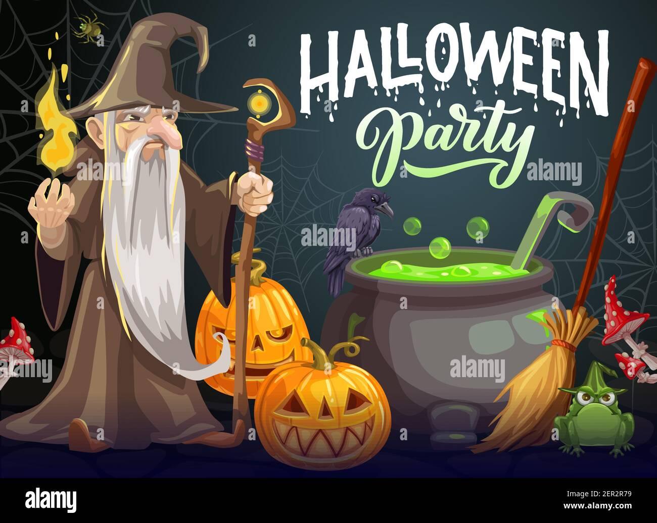 Cartel del vector de la historieta de la fiesta de Halloween. Mago con larga barba blanca, bata y sombrero mantener el personal mágico y fuego cerca de la caldera con poción verde. Halloween Ilustración del Vector