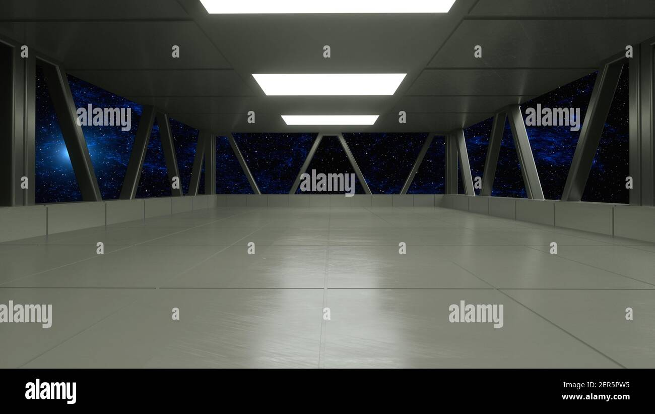 renderizar en 3d. Pasillo futurista. Concepto de arquitectura moderna y nave espacial interior Foto de stock
