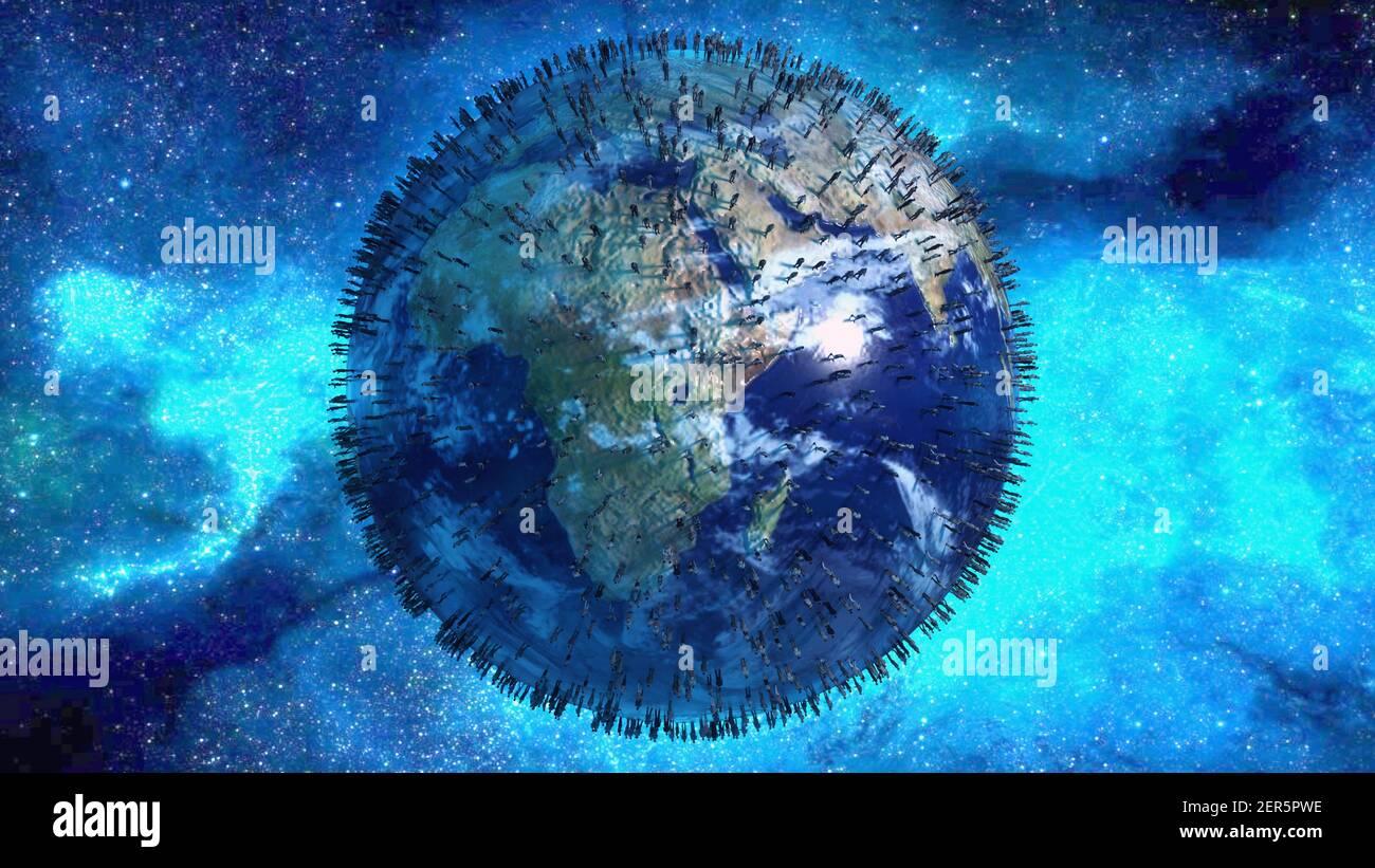 renderizar en 3d. Planeta y gente Foto de stock