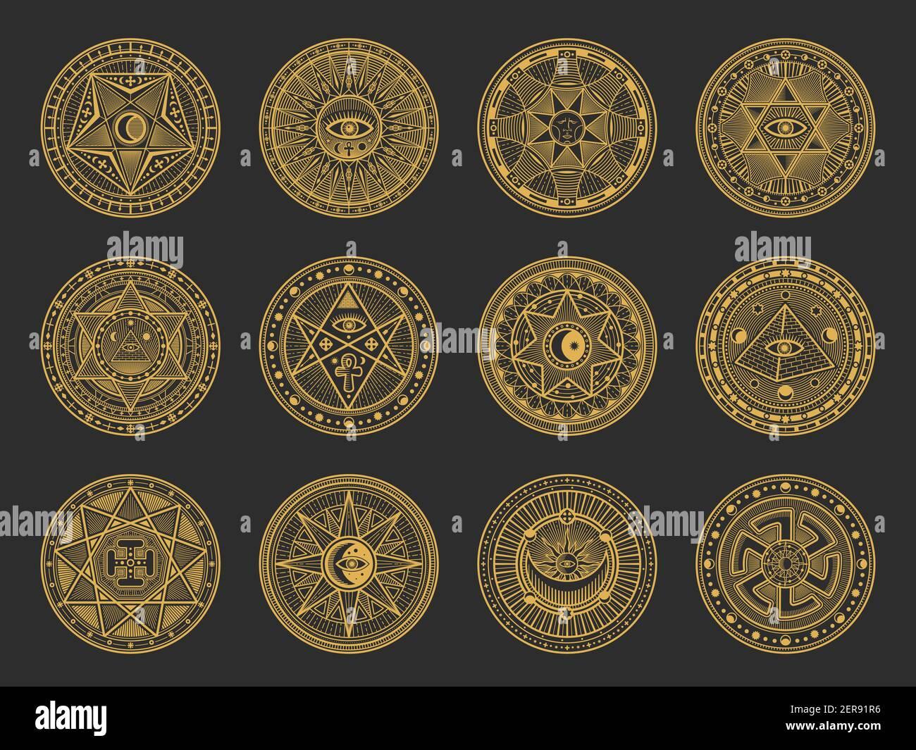 Símbolos mágicos con alquimia vectorial y ciencia oculta, religión esotérica y signos místicos de la astrología. Círculos de oro con Sol, Luna y ojo espiritual, tri Ilustración del Vector