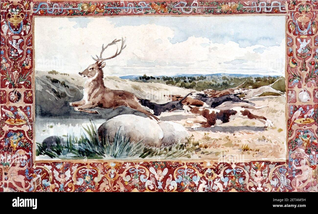 Perros levantando un ciervo. Motivación cinegético - Daniel Zuloaga. Foto de stock