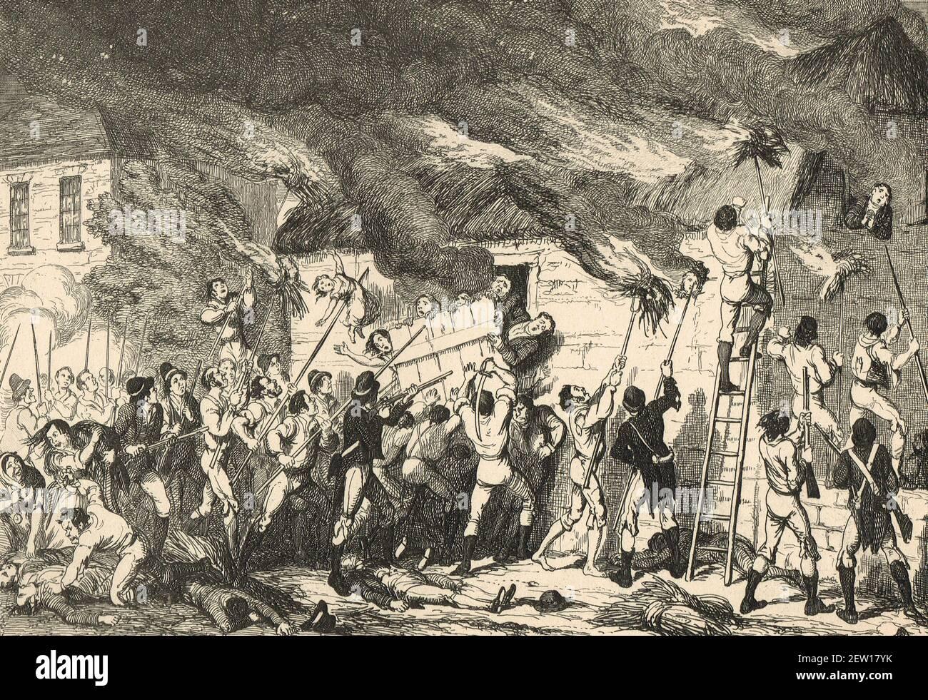 La masacre de Scullabogue, cerca de Newbown, Condado de Wexford, 5 de junio de 1798, los insurgentes masacraron a hombres no combatientes mujeres y niños, la mayoría de los cuales eran protestantes, detenidos en un granero que luego fue incendiado, Durante la rebelión irlandesa de 1798 en represalia por el ejército británico incendiando una casa que contenía heridos en la batalla cercana de New Ross Foto de stock