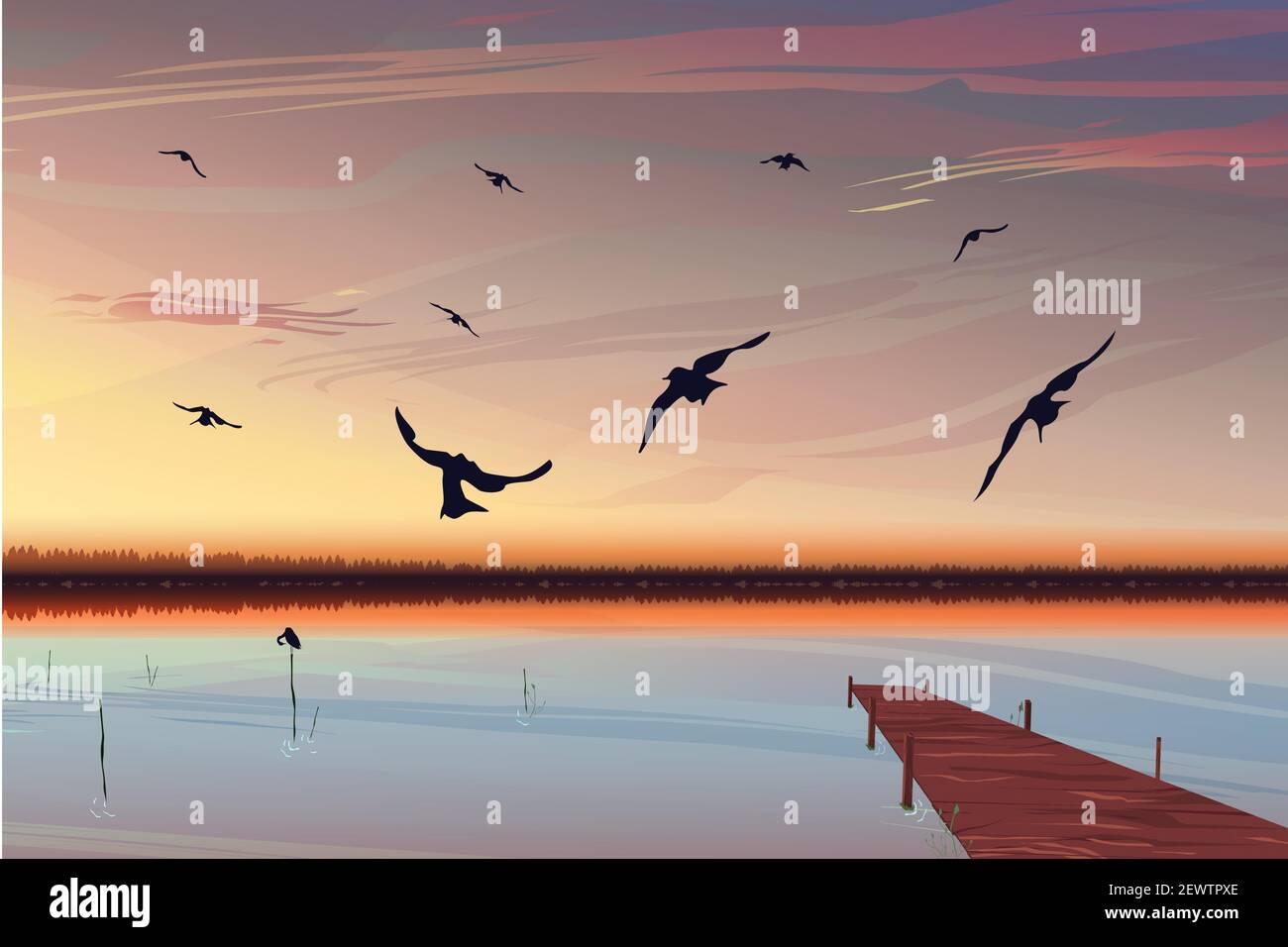 Puesta de sol realista sobre el lago con un muelle en el fondo. Las aves vuelan en primer plano. Hermoso amanecer con un cálido cielo amarillo-rosa. Tapa de tierra Ilustración del Vector