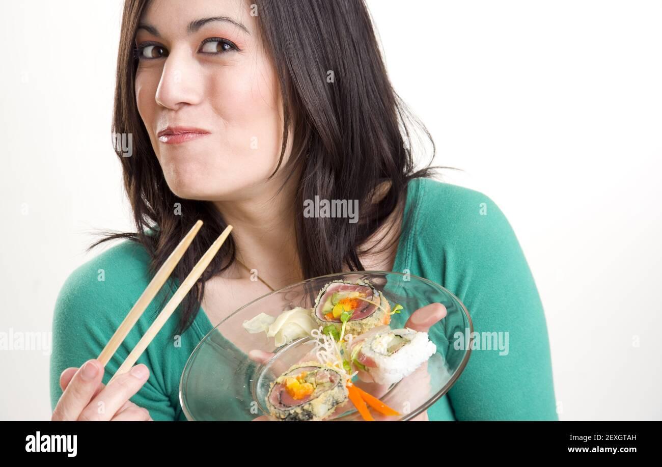Con Sushi Smilin Foto de stock
