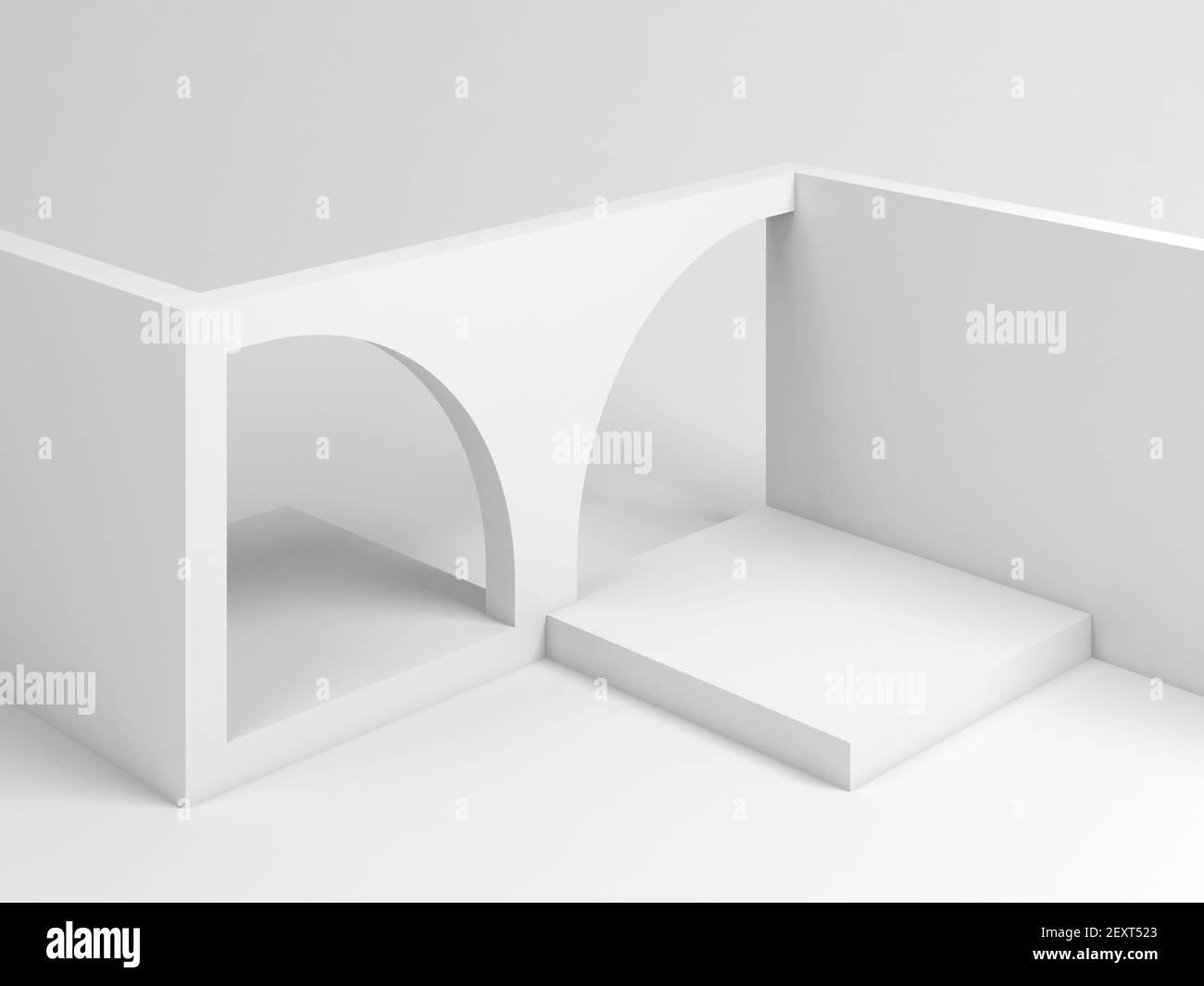Abstracto blanco instalación arquitectónica de un cubo vacío bloques con arcos, 3D representación de la ilustración Foto de stock
