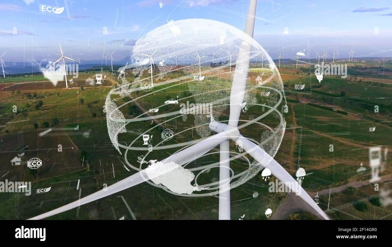 Desarrollo futuro de la conservación del medio ambiente y la modernización de las energías renovables mediante el uso tecnología de recursos sostenibles para reducir la contaminación y. Foto de stock