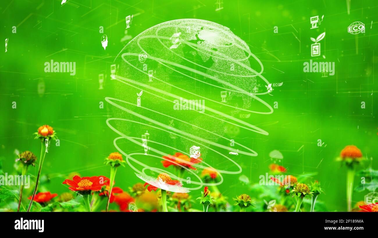 Conservación ambiental futura y desarrollo sostenible de la modernización de ESG mediante el uso tecnología de recursos renovables para reducir la contaminación y. Foto de stock