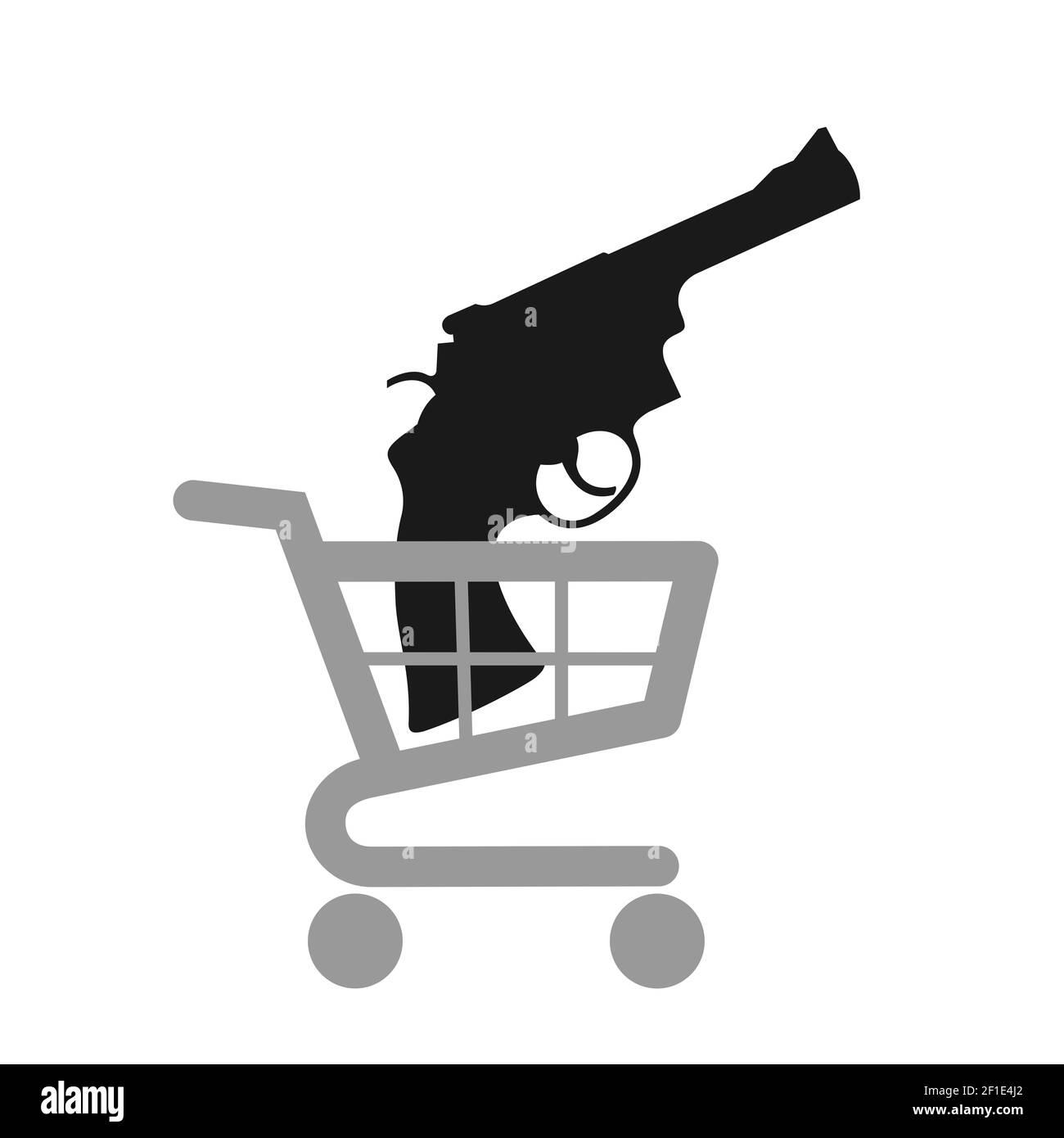 Carro de compras y carro con revólver y pistola - comprar un arma y un arma. Ilustración vectorial aislada sobre blanco. Foto de stock