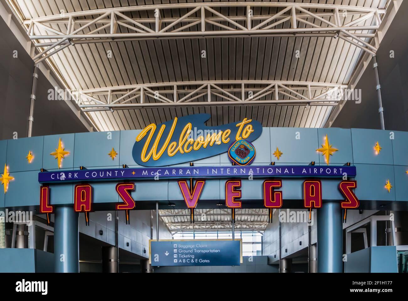 Cartel de bienvenida en el Aeropuerto Internacional McCarran, las Vegas, Nevada, Estados Unidos Foto de stock