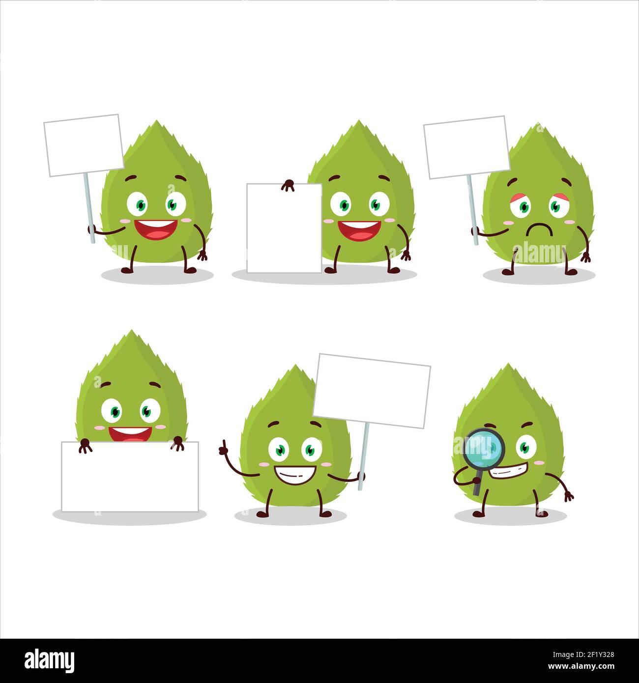 Basil hojas de dibujos animados carácter traer tablero de información. Ilustración vectorial Ilustración del Vector