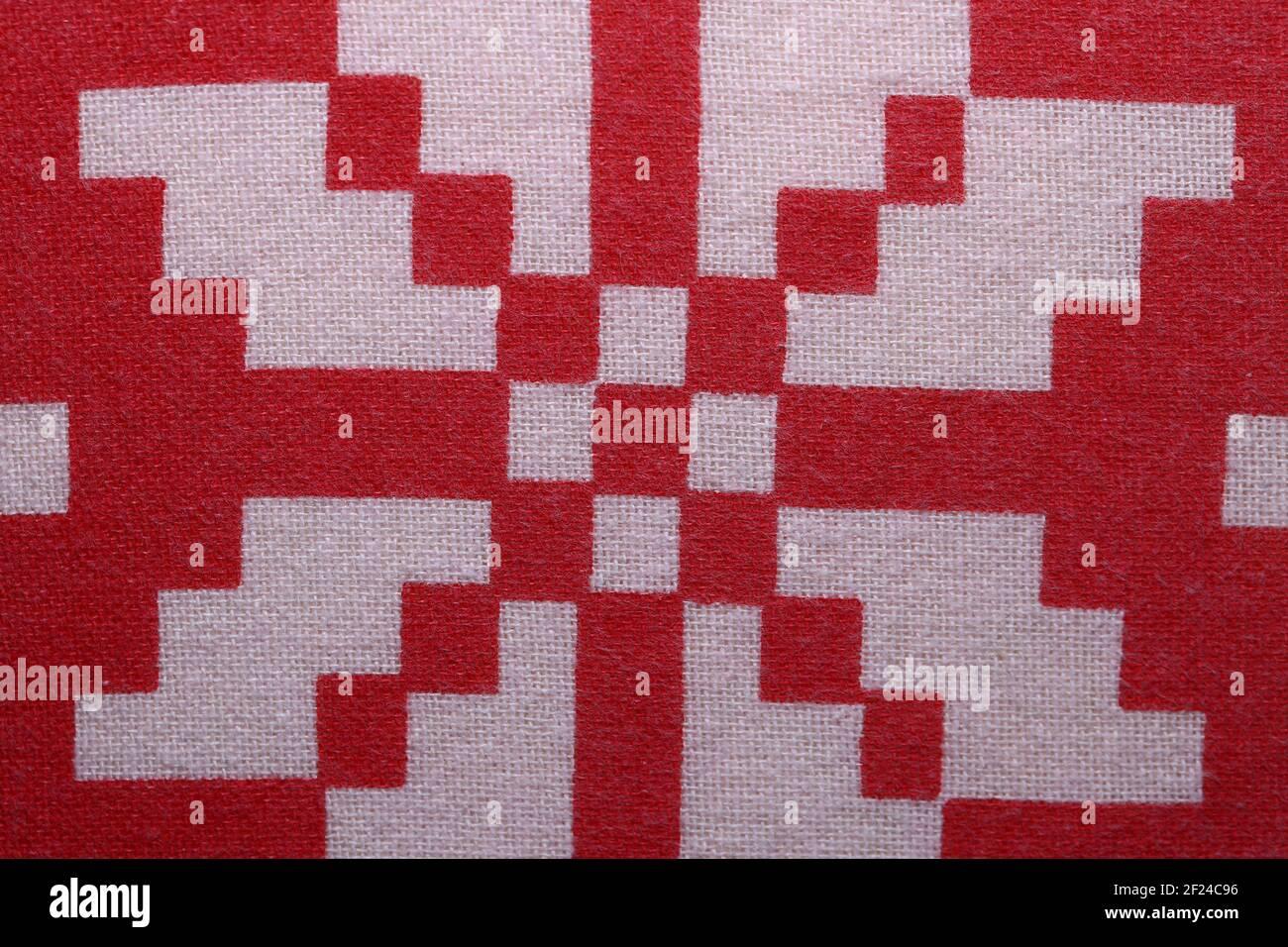Cierre de textura de algodón blanco y rojo Foto de stock