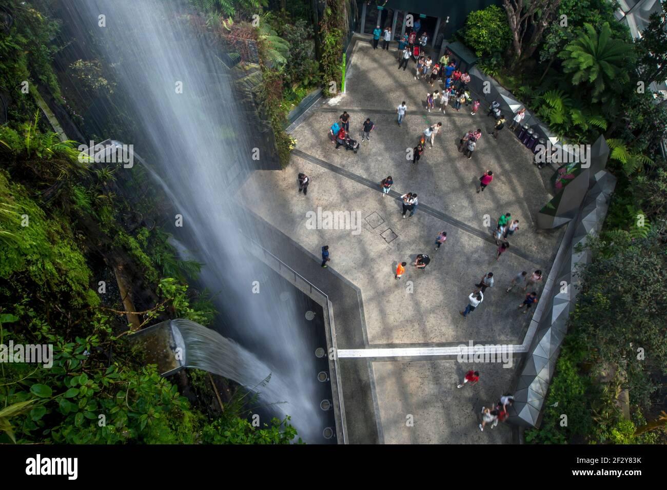 La cascada en el atrio de la selva tropical en Gardens by the Bay en Singapur. Jardines junto a la bahía es un parque natural que abarca más de 100 hectáreas. Foto de stock
