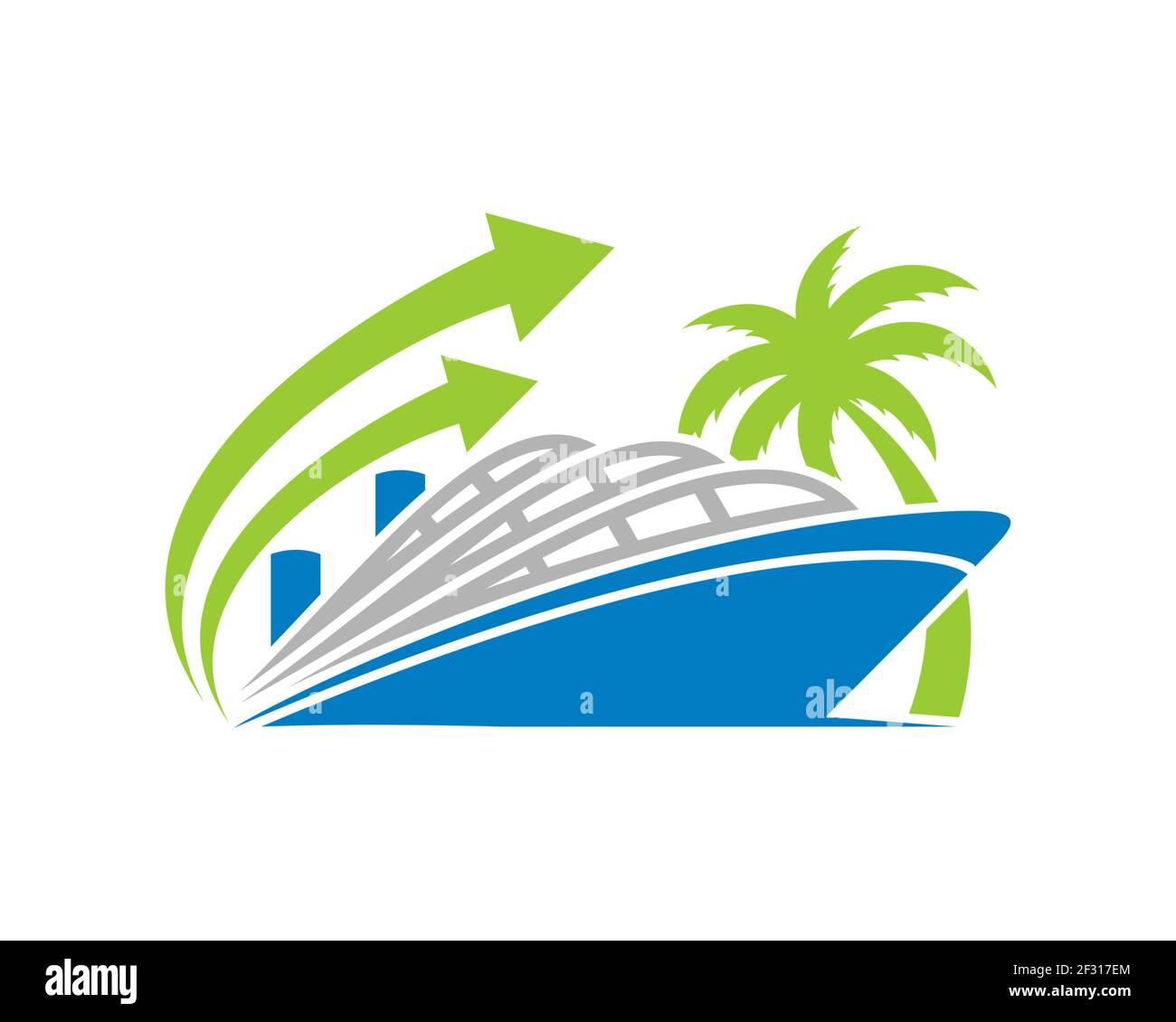 Crucero con dirección de flecha de lugar de desplazamiento Foto de stock