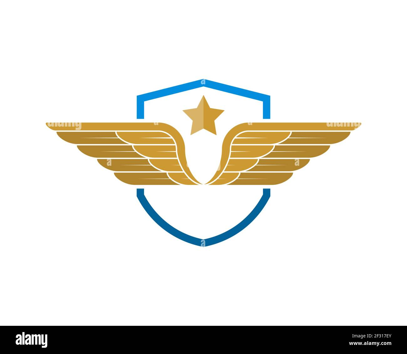 Escudo de protección simple con alas y estrella Foto de stock