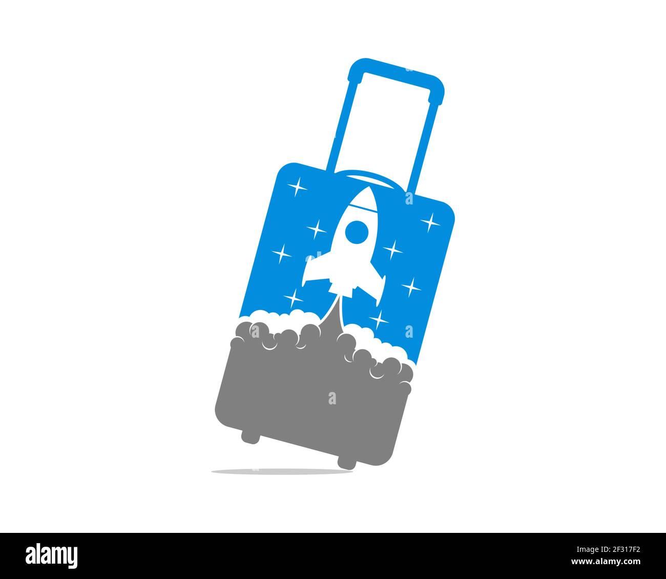 Bolsa de viaje con lanzamiento de cohetes en el interior Foto de stock