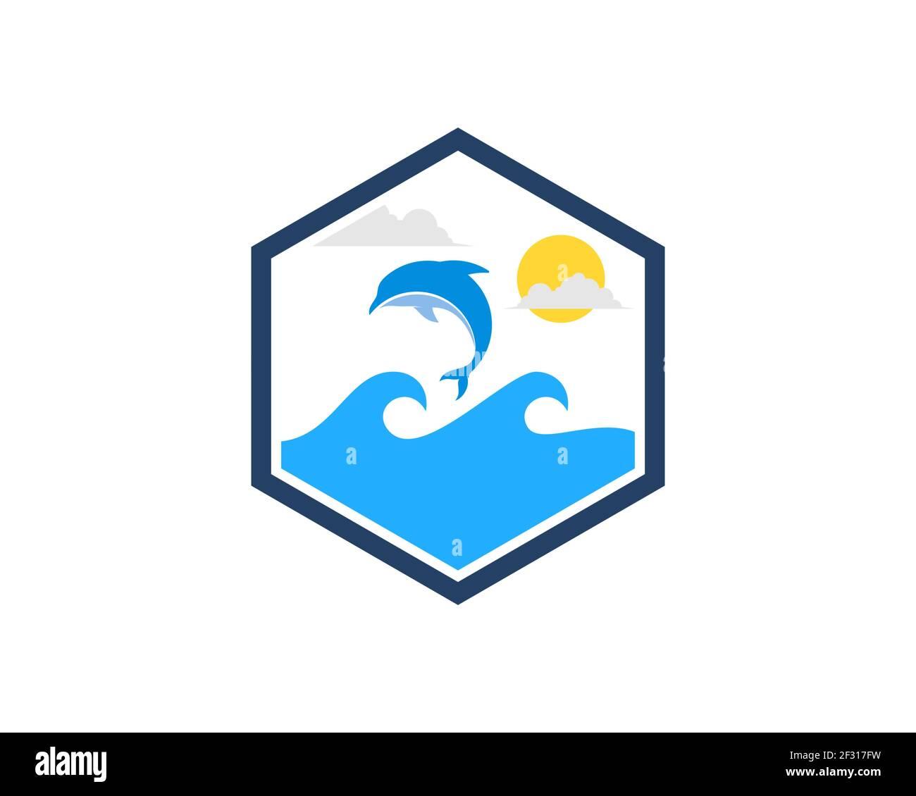 Forma hexagonal con olas de playa y saltando delfines Foto de stock