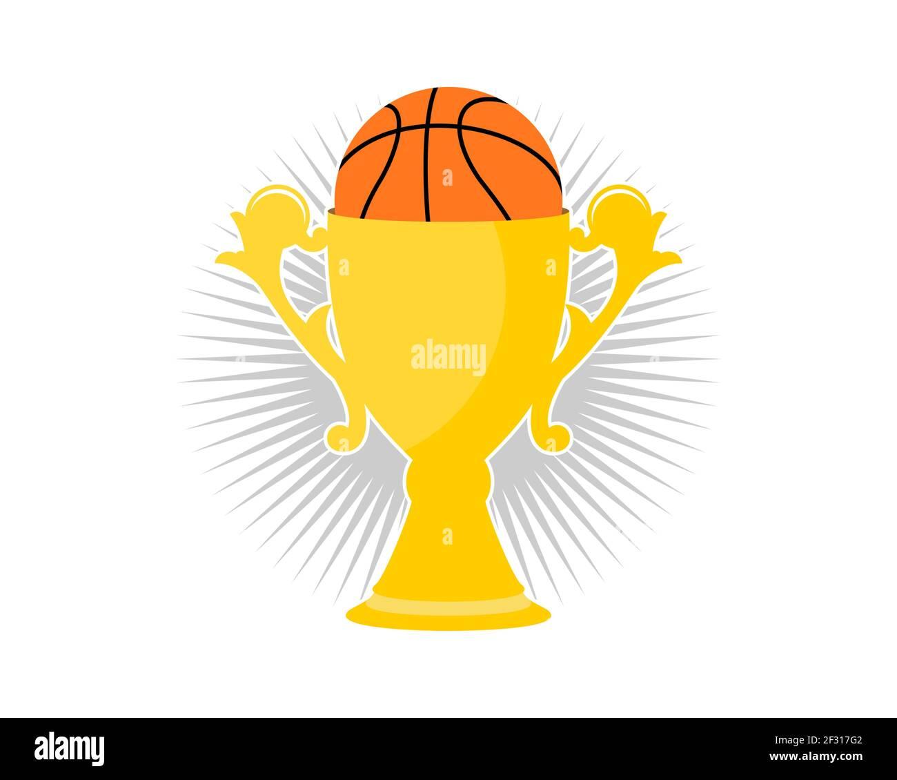 Ganador de la cesta con trofeo y baloncesto Foto de stock