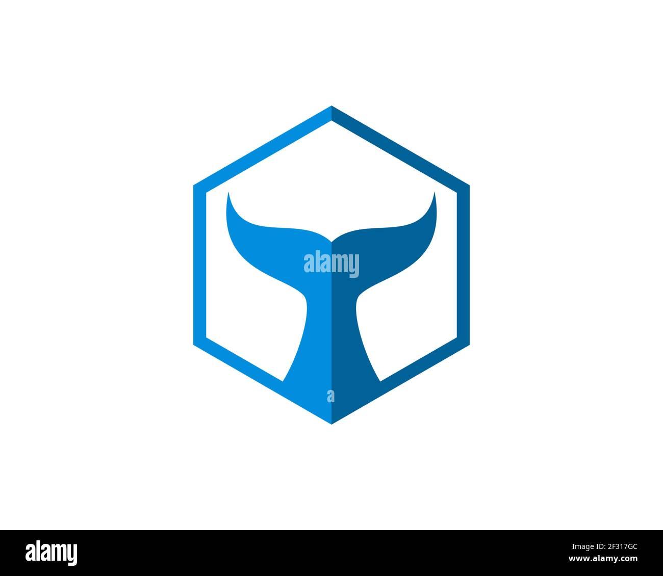Forma hexagonal con cola de ballena en el interior Foto de stock