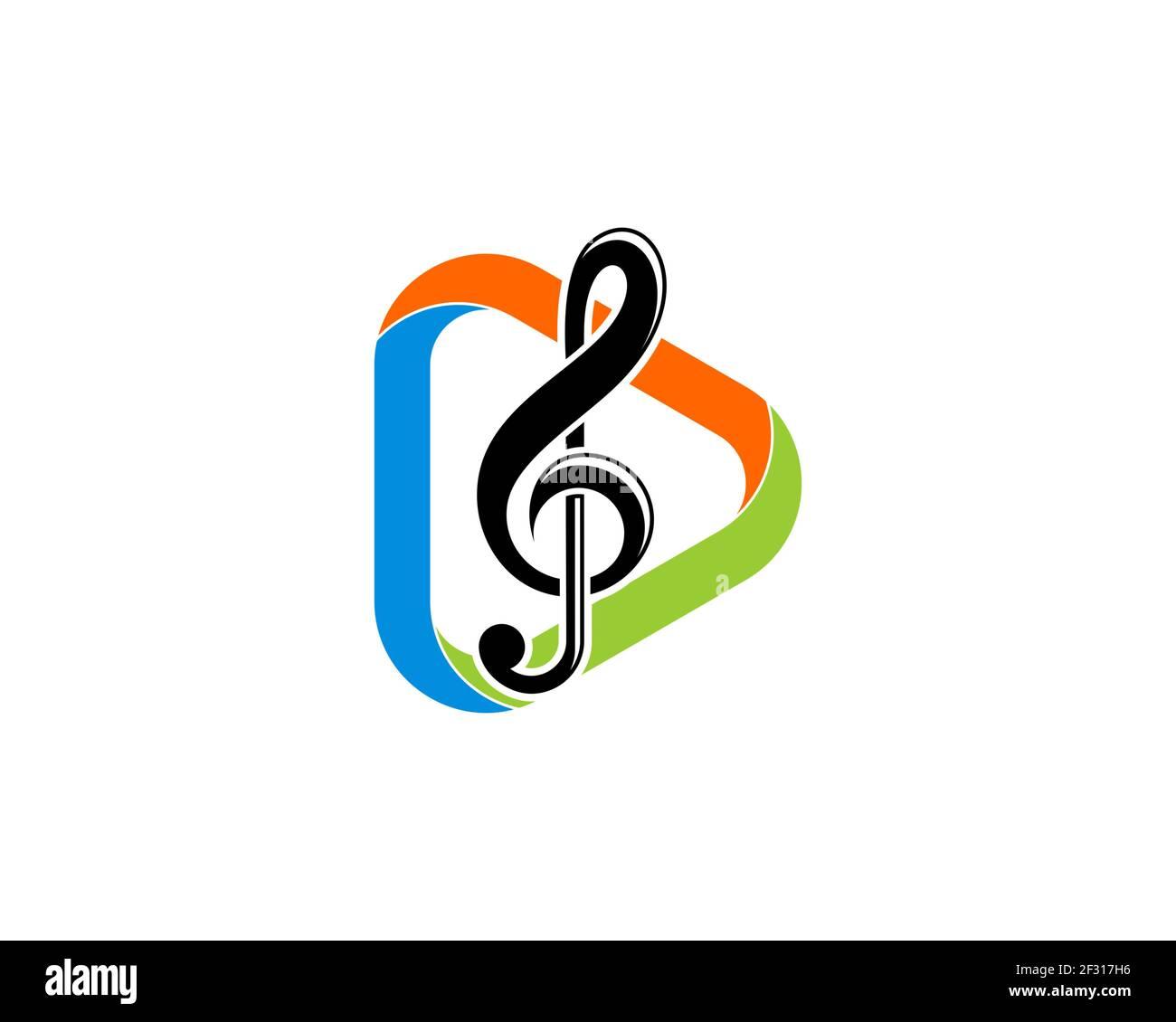 Botón de reproducción multimedia con nota musical en el interior Foto de stock
