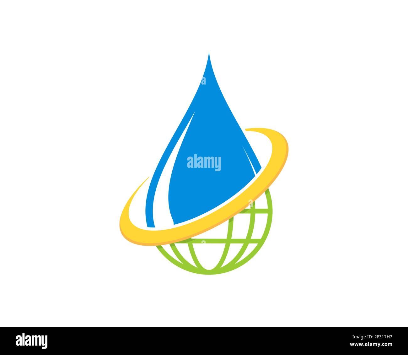 Combinación de gota de agua con logo verde globo Foto de stock