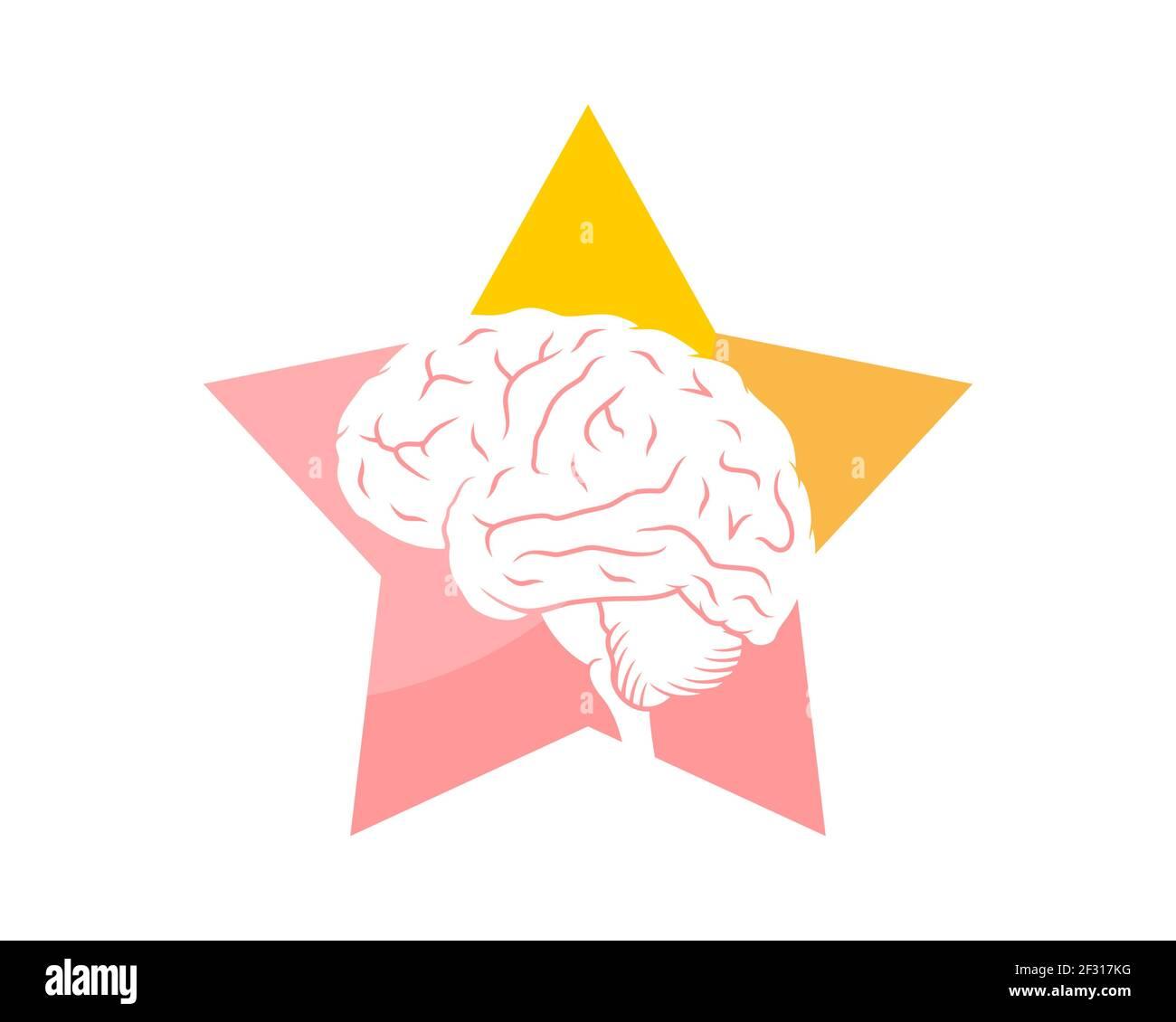 Cerebro inteligente dentro de la forma de la estrella Foto de stock