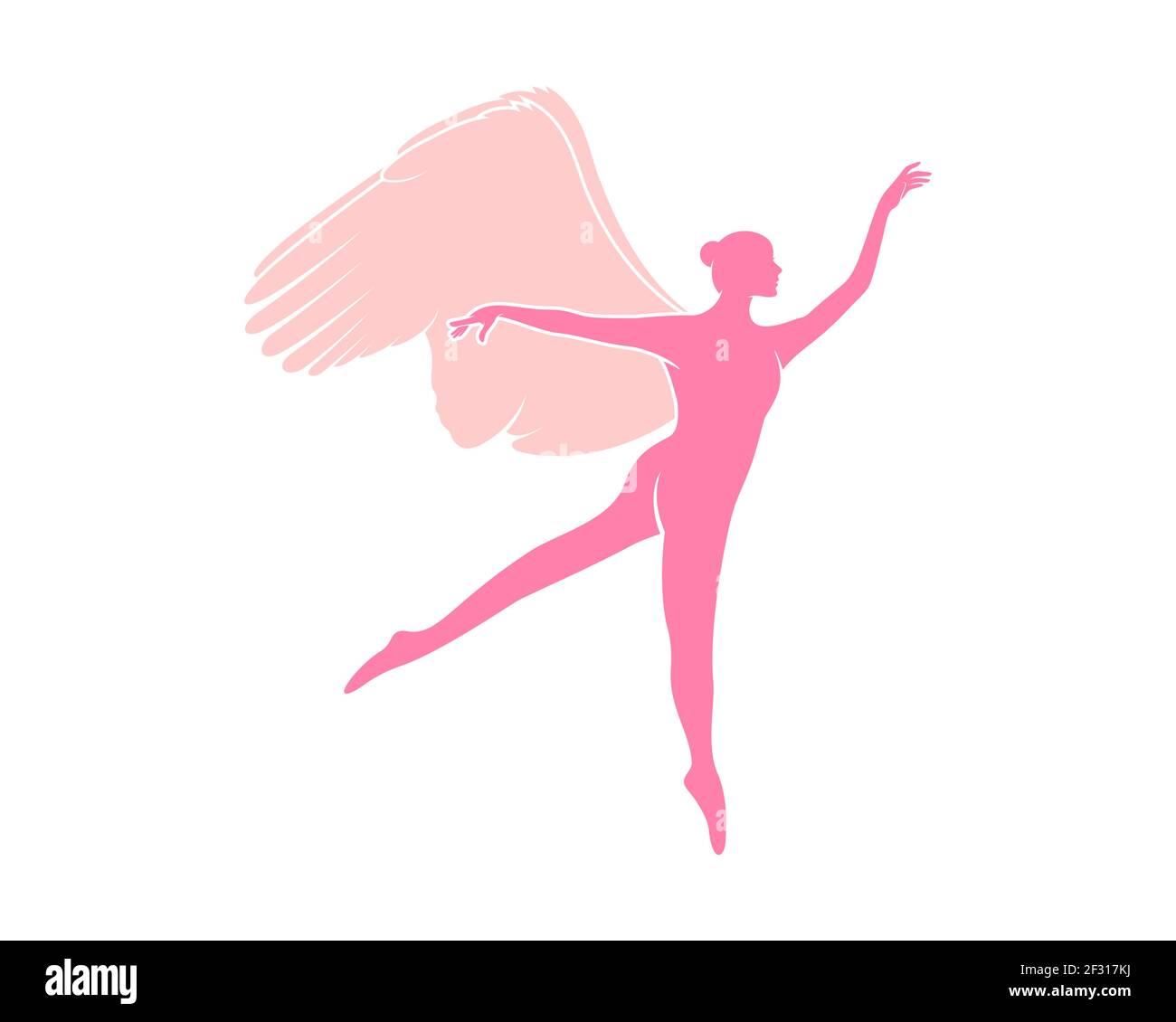 Mujer bailarina con alas rosadas Foto de stock