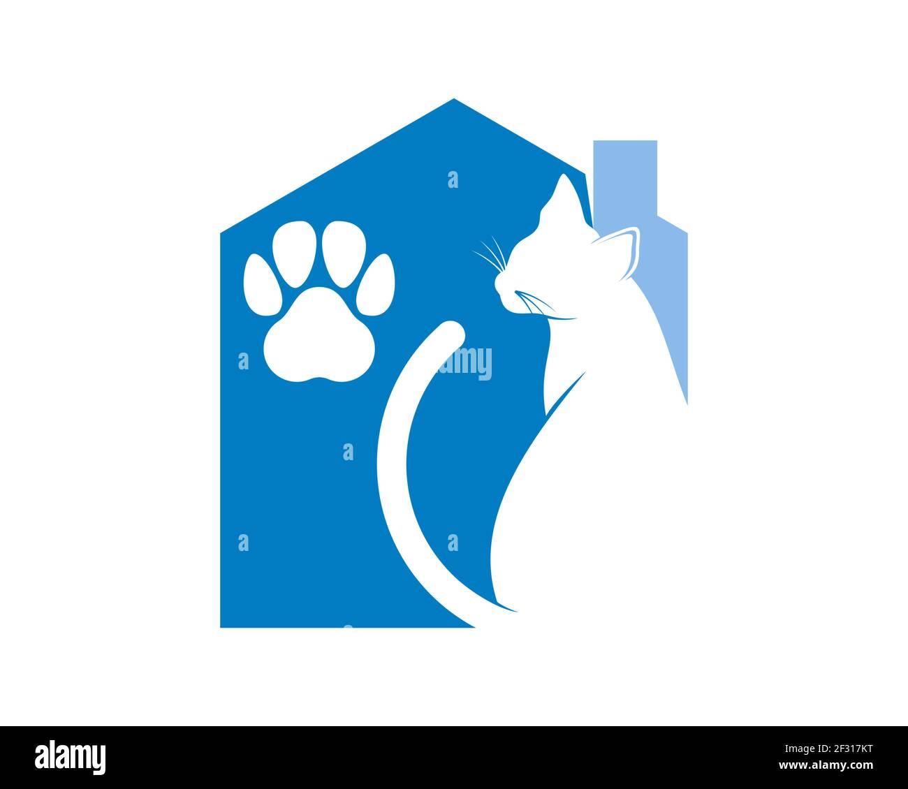 Casa de mascotas con gato en el interior Foto de stock