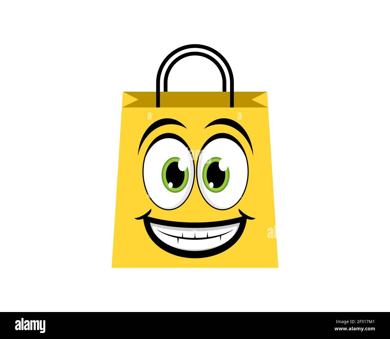 Bolsa de compras con cara de sonrisa Foto de stock