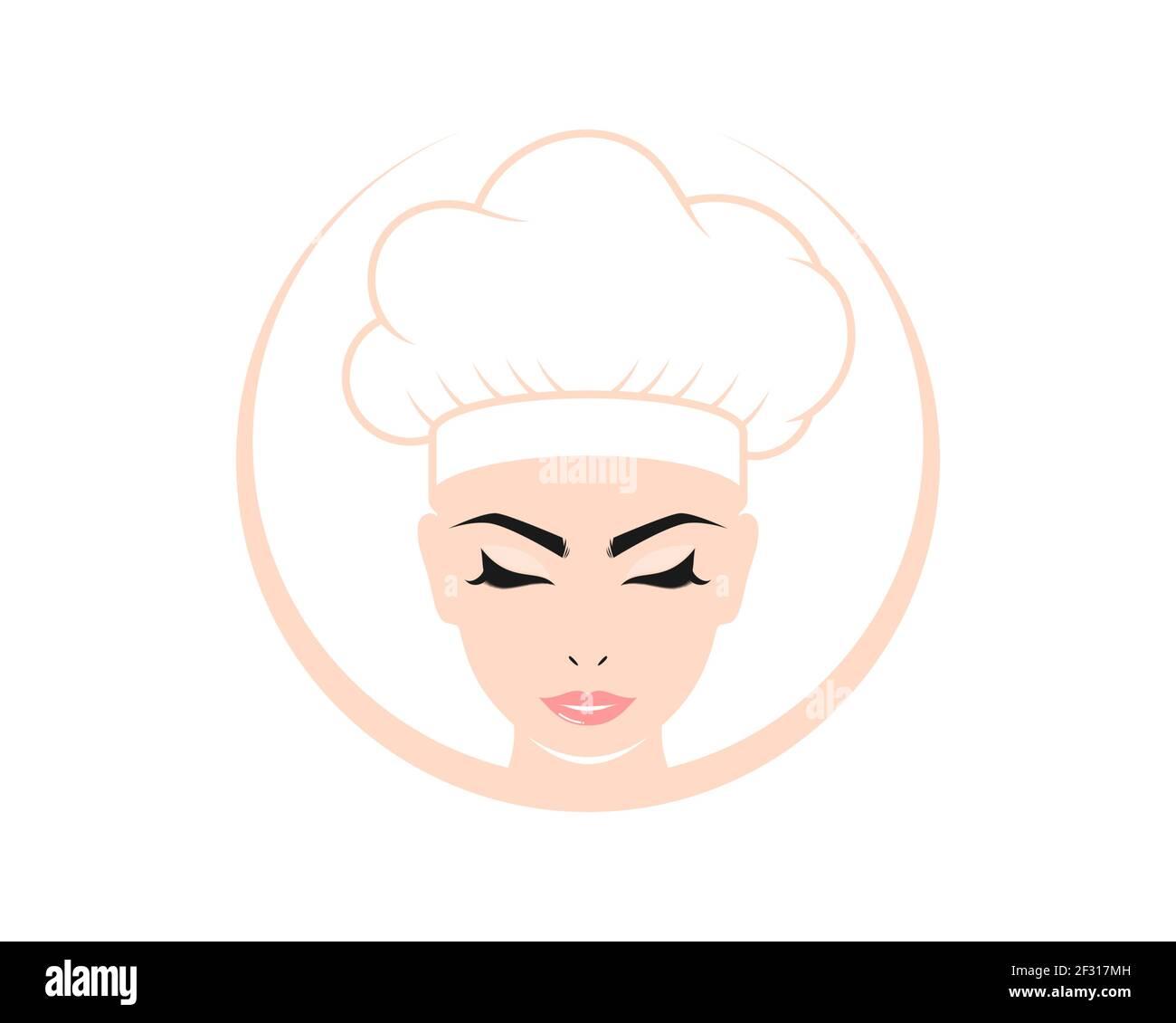Belleza mujer chef personaje logo Foto de stock