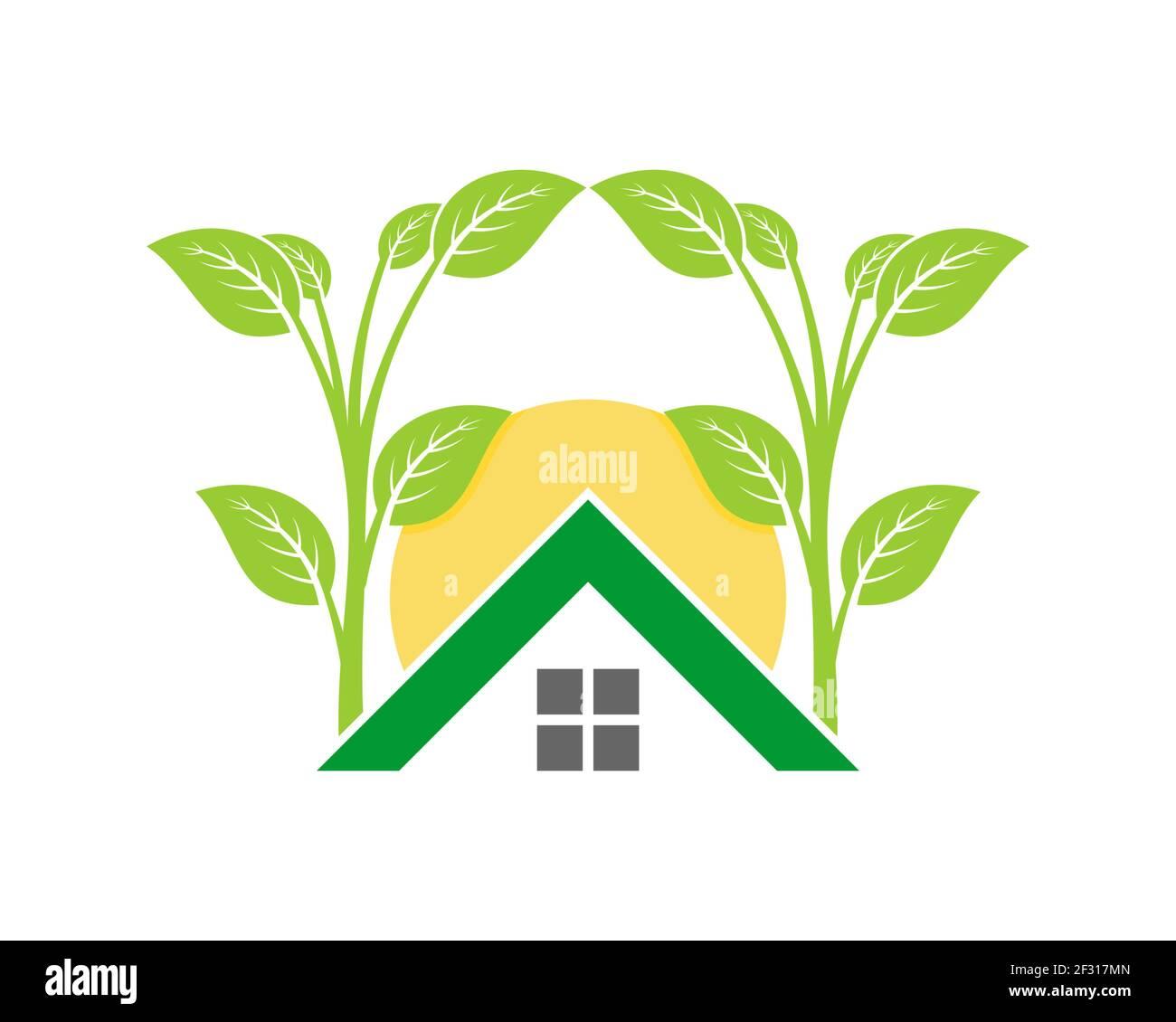 Casa verde con árbol de plantación Foto de stock